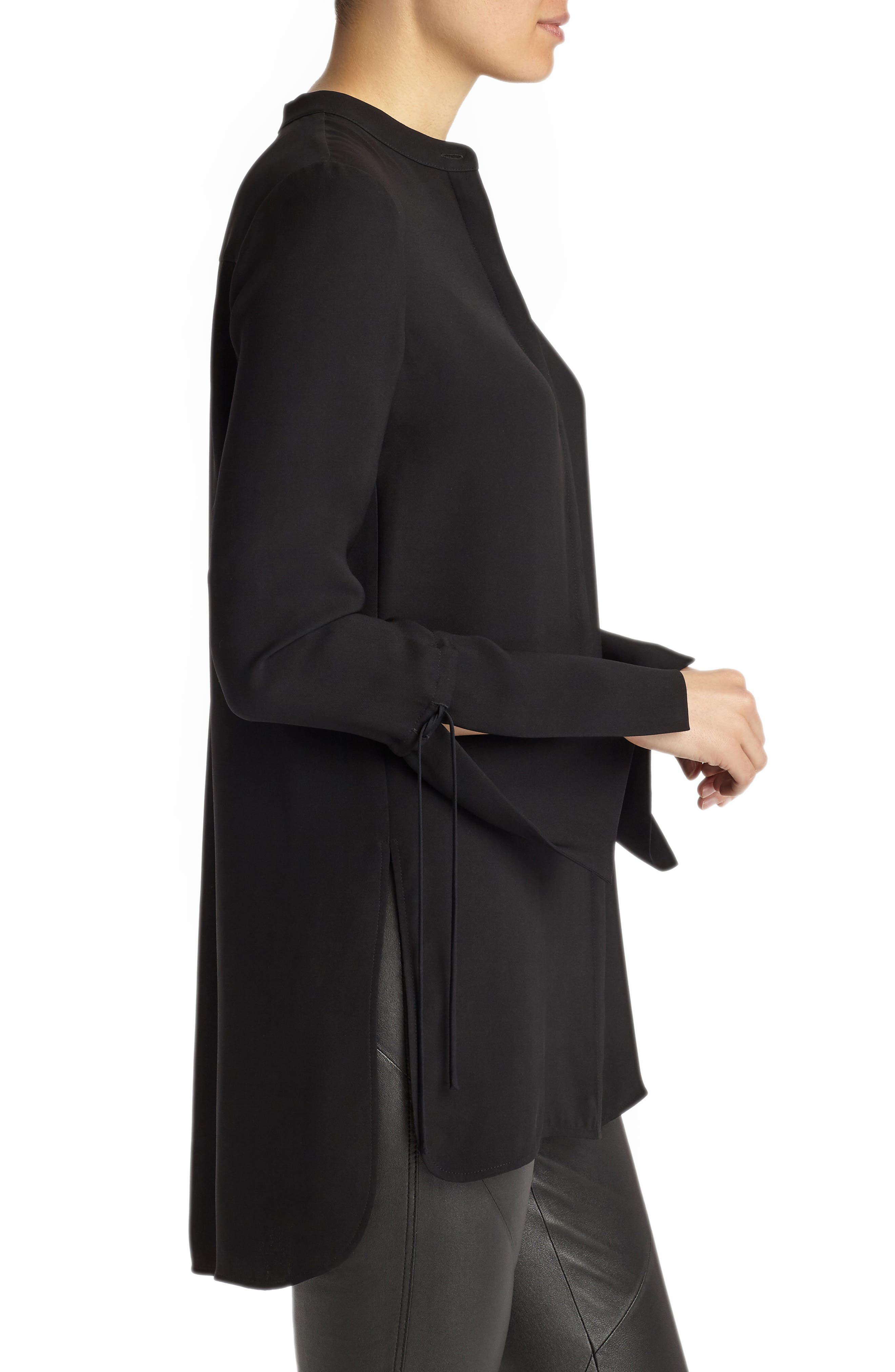 Desra Silk Blouse,                             Alternate thumbnail 3, color,                             Black