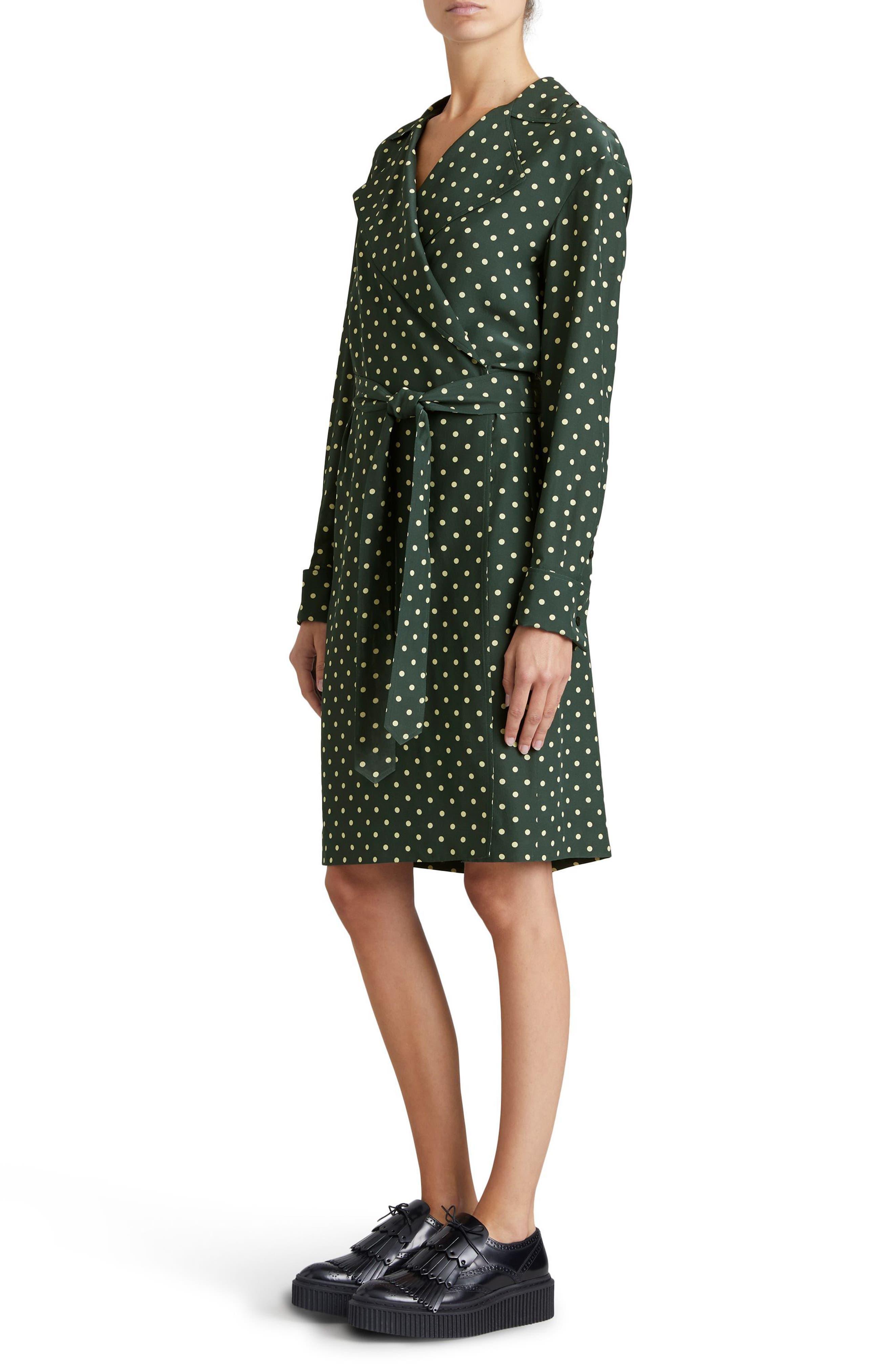 Janis Polka Dot Silk Wrap Dress,                             Alternate thumbnail 3, color,                             Racing Green