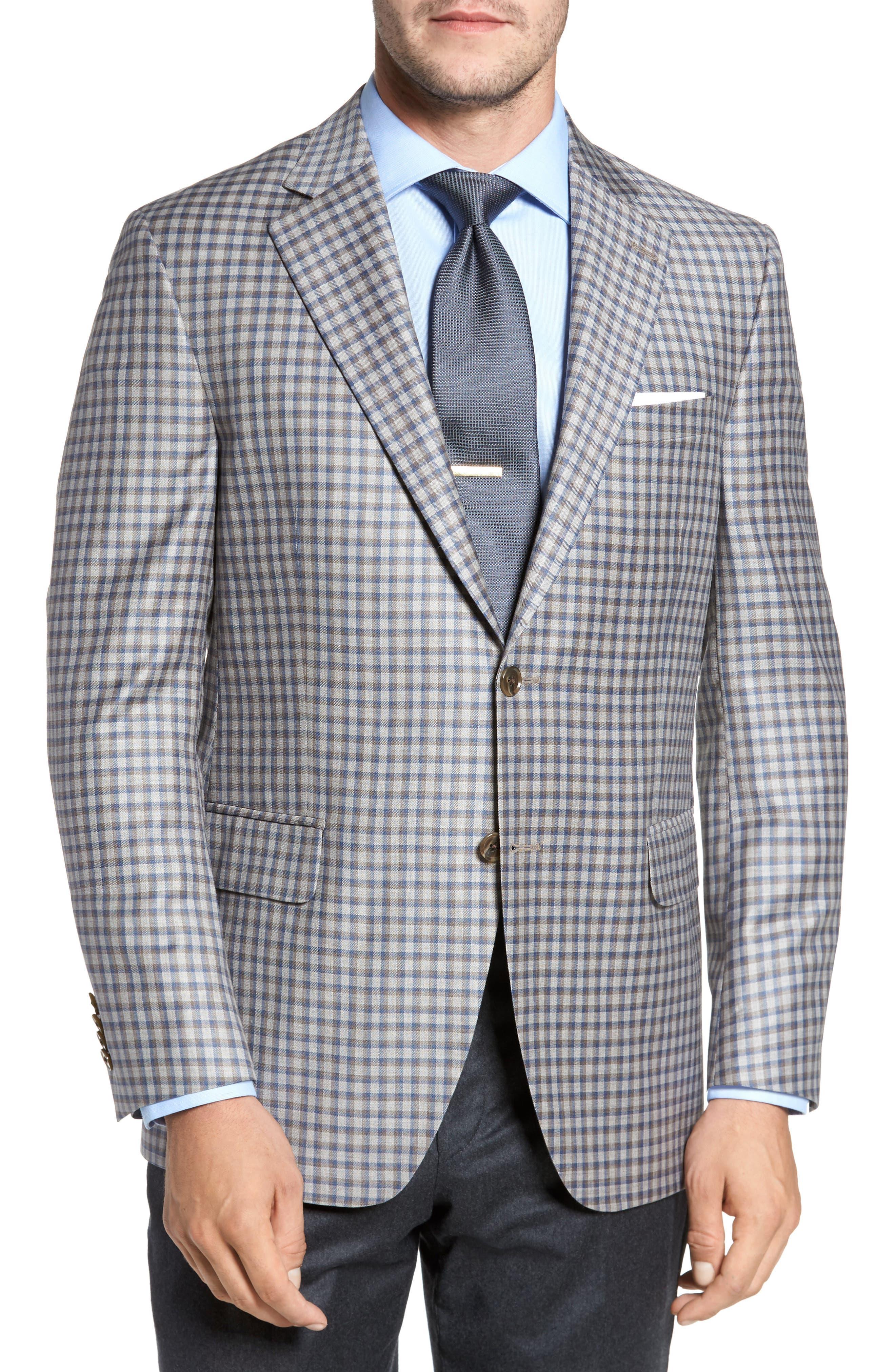 Classic Fit Check Wool Sport Coat,                         Main,                         color, Tan