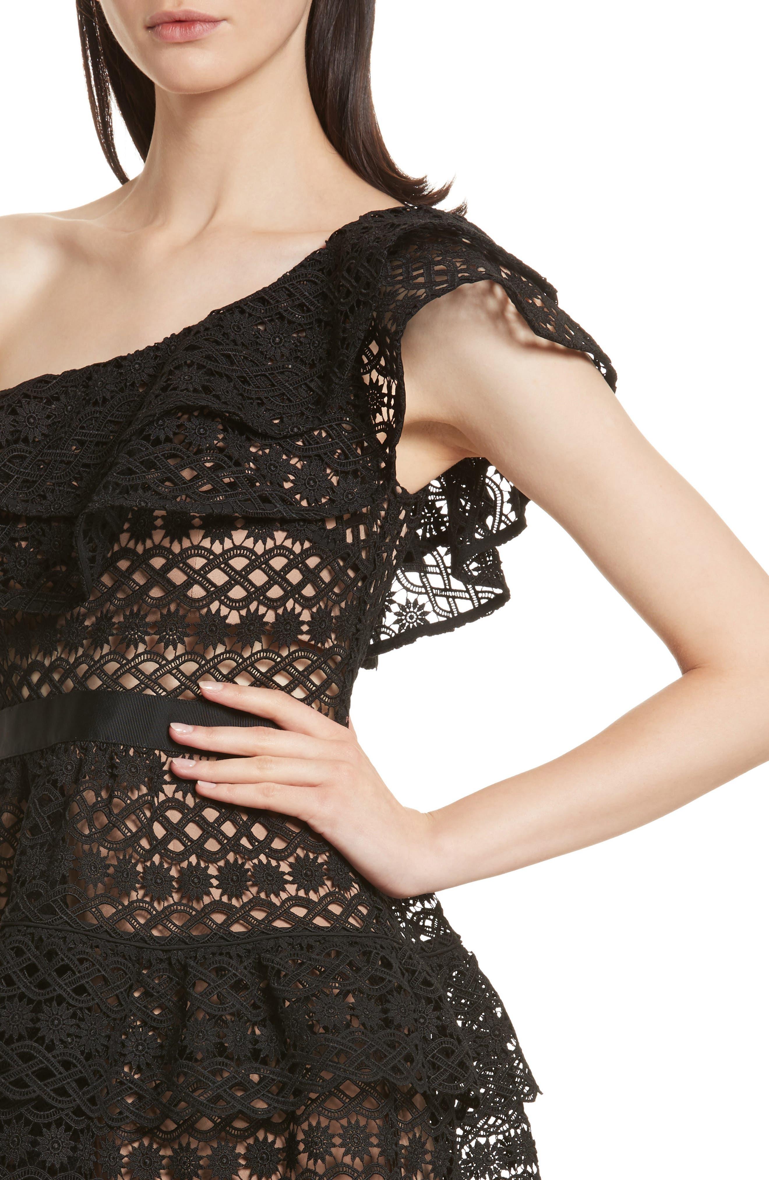 Floral Chain Lace One-Shoulder Dress,                             Alternate thumbnail 4, color,                             Black