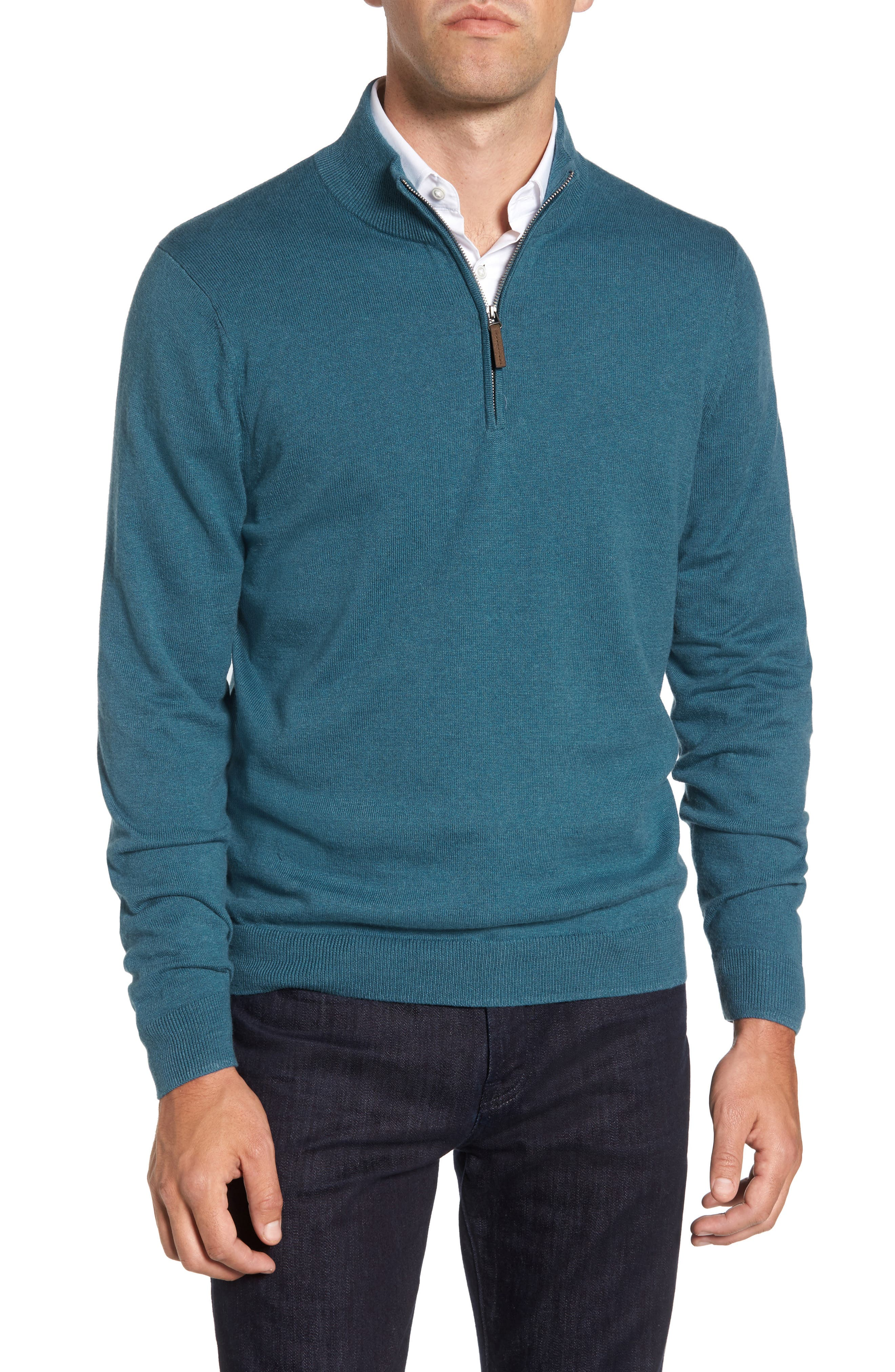 Half Zip Cotton & Cashmere Pullover,                             Main thumbnail 1, color,                             Teal Moroccan