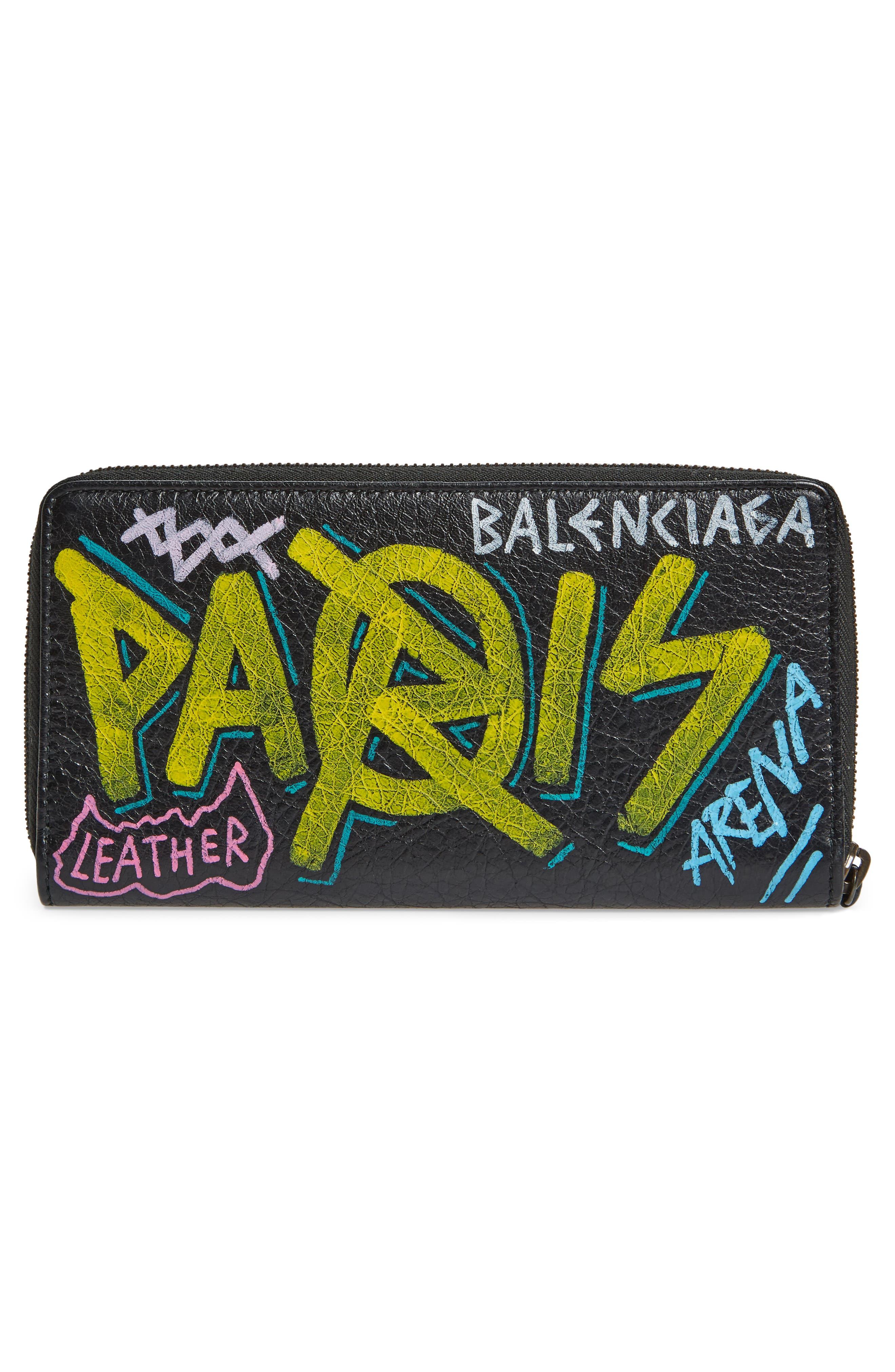 Classic Continental Leather Wallet,                             Alternate thumbnail 3, color,                             Noir/ Multi Color