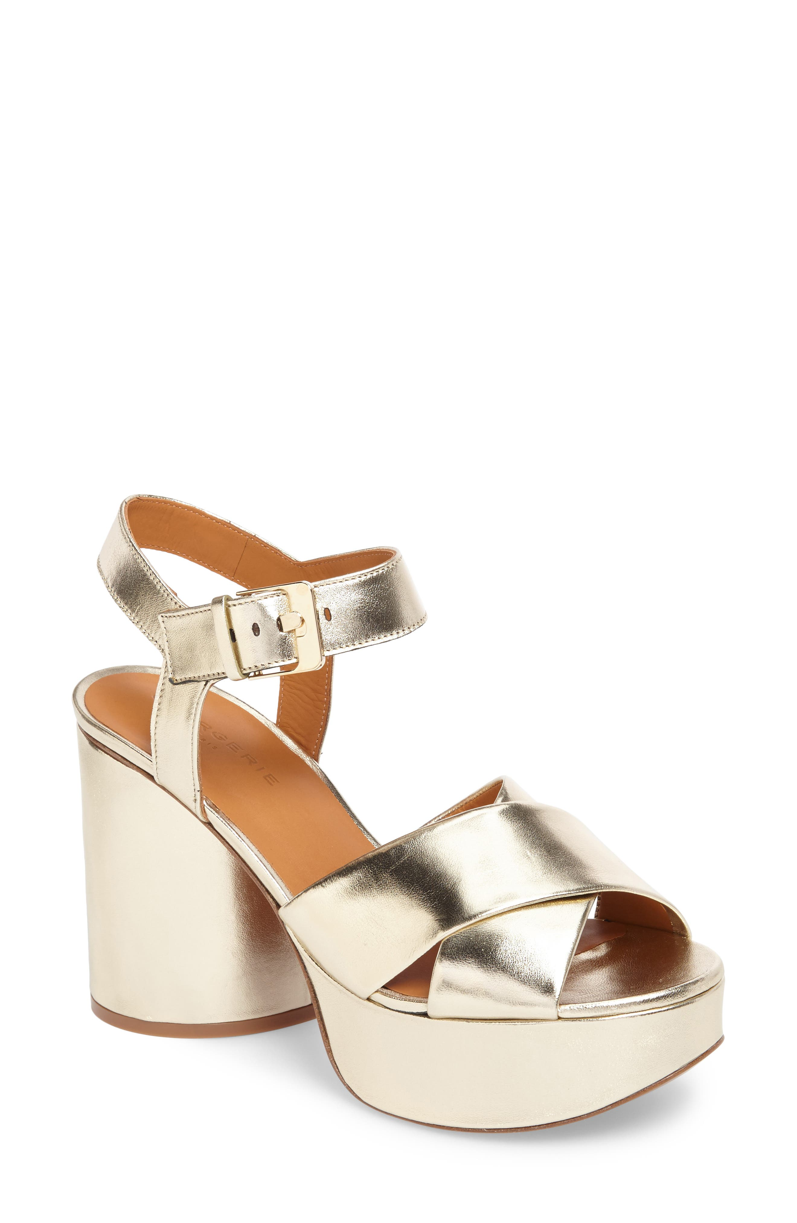Vianne Ankle Strap Platform Sandal,                         Main,                         color, Metallic Gold