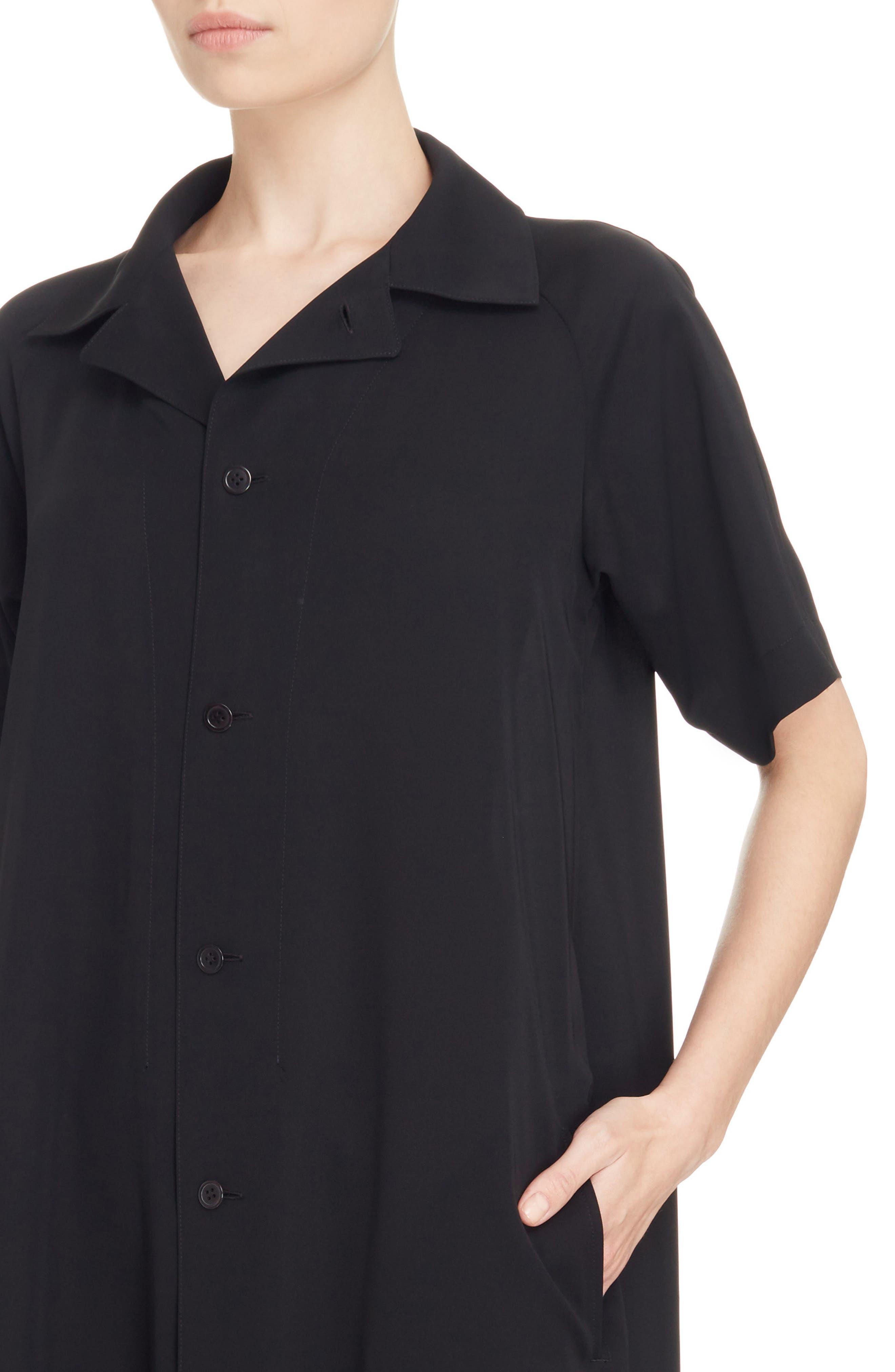 Oversize Shirtdress,                             Alternate thumbnail 4, color,                             Black