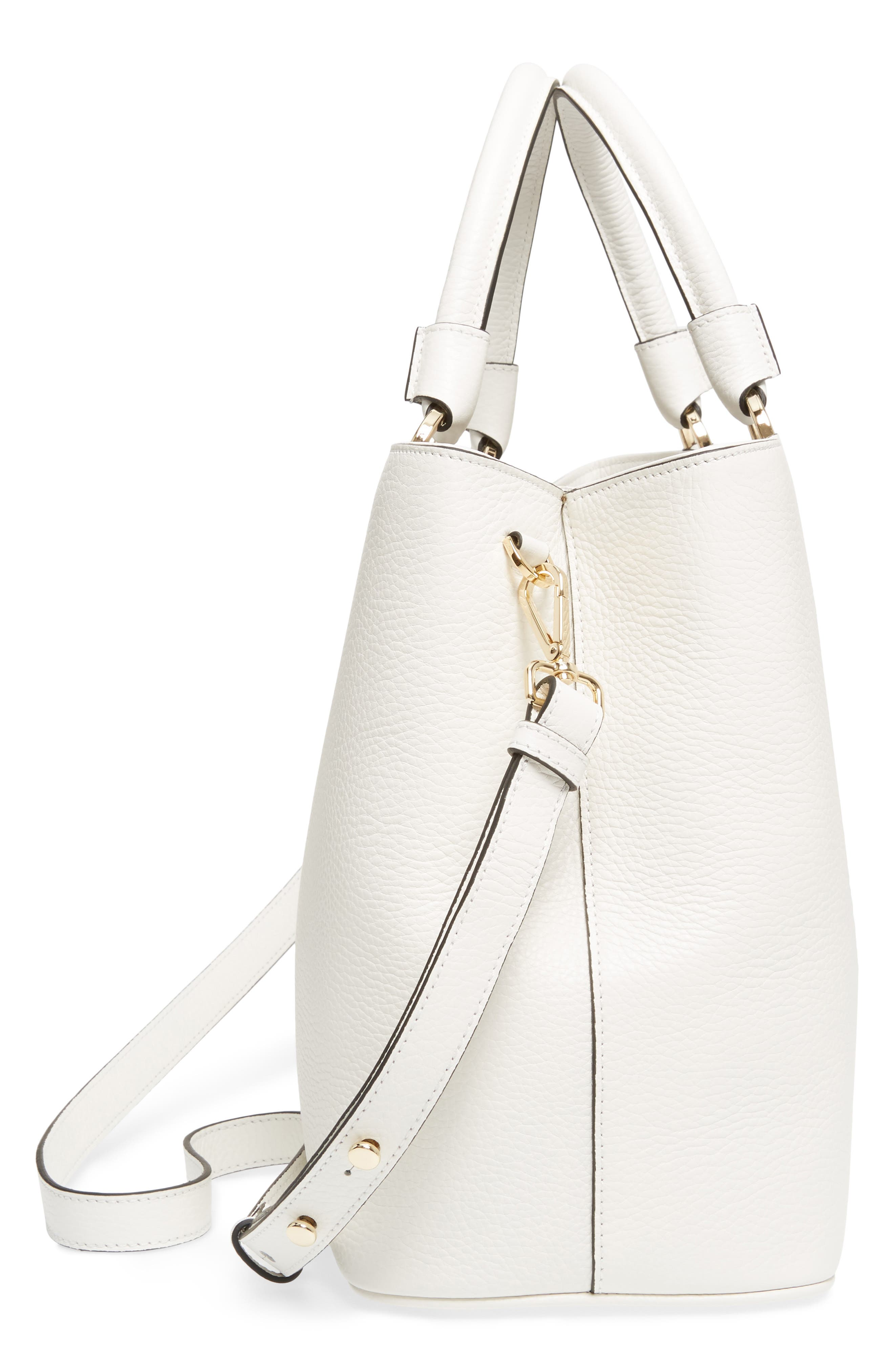 Veronica Cachemire Leather Tote,                             Alternate thumbnail 5, color,                             New Milk