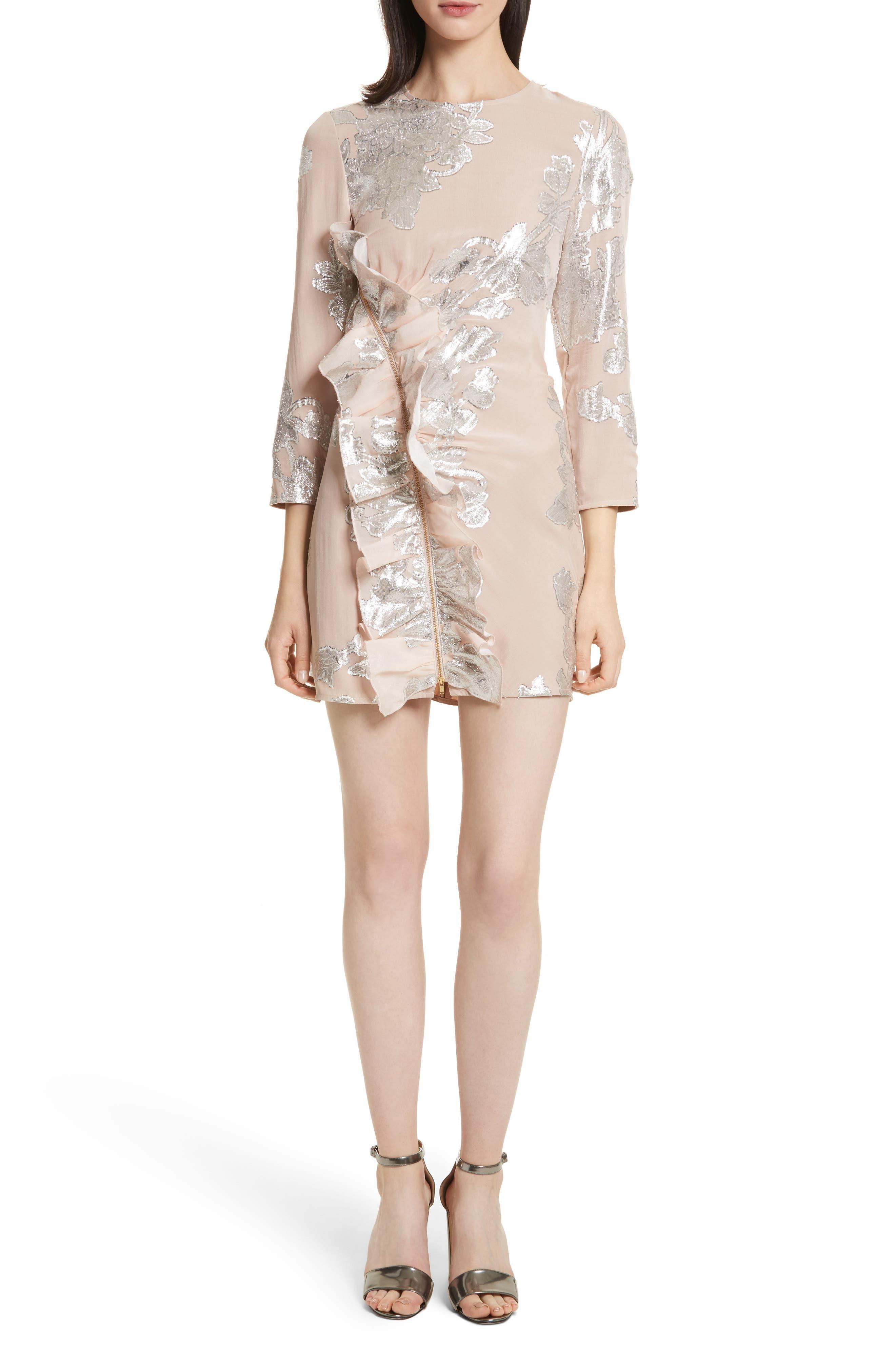 Metallic Fil Coupé Ruffle Minidress,                         Main,                         color, Blush Pink