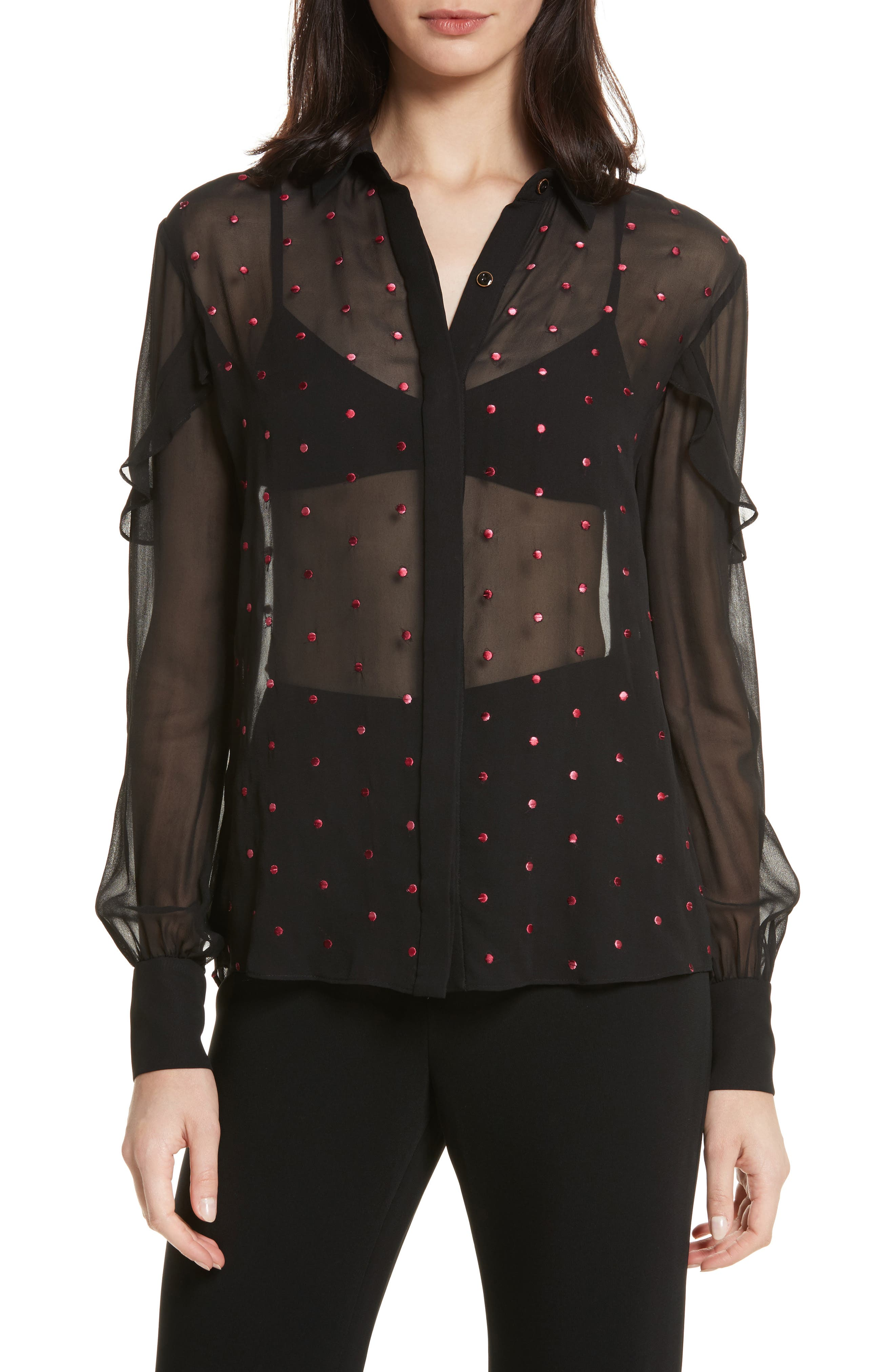 Myra Embroidered Silk Shirt,                         Main,                         color, Black Rose Ombre Dots