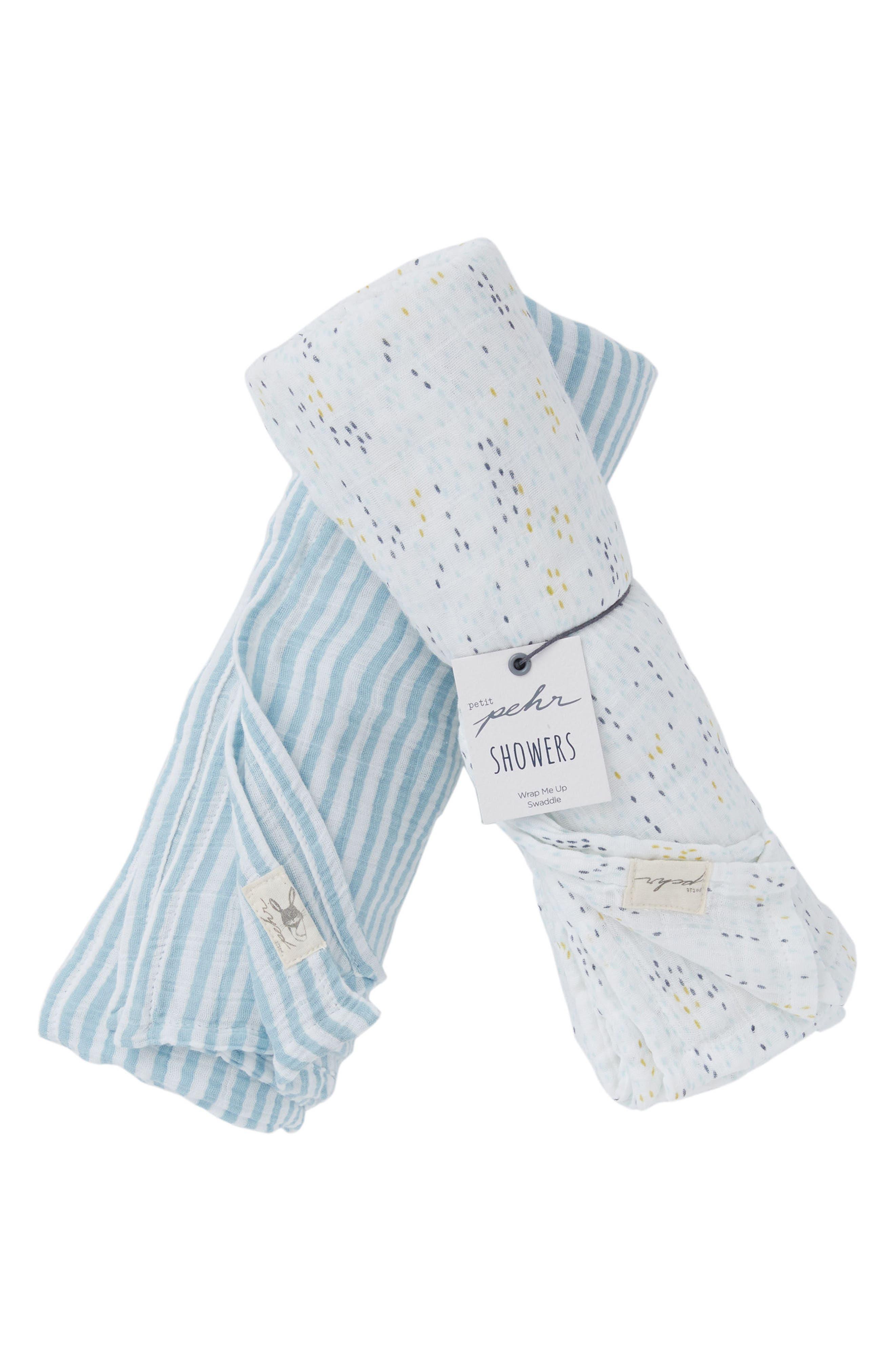 Showers & Stripes Swaddle Blanket Set,                         Main,                         color, Blue