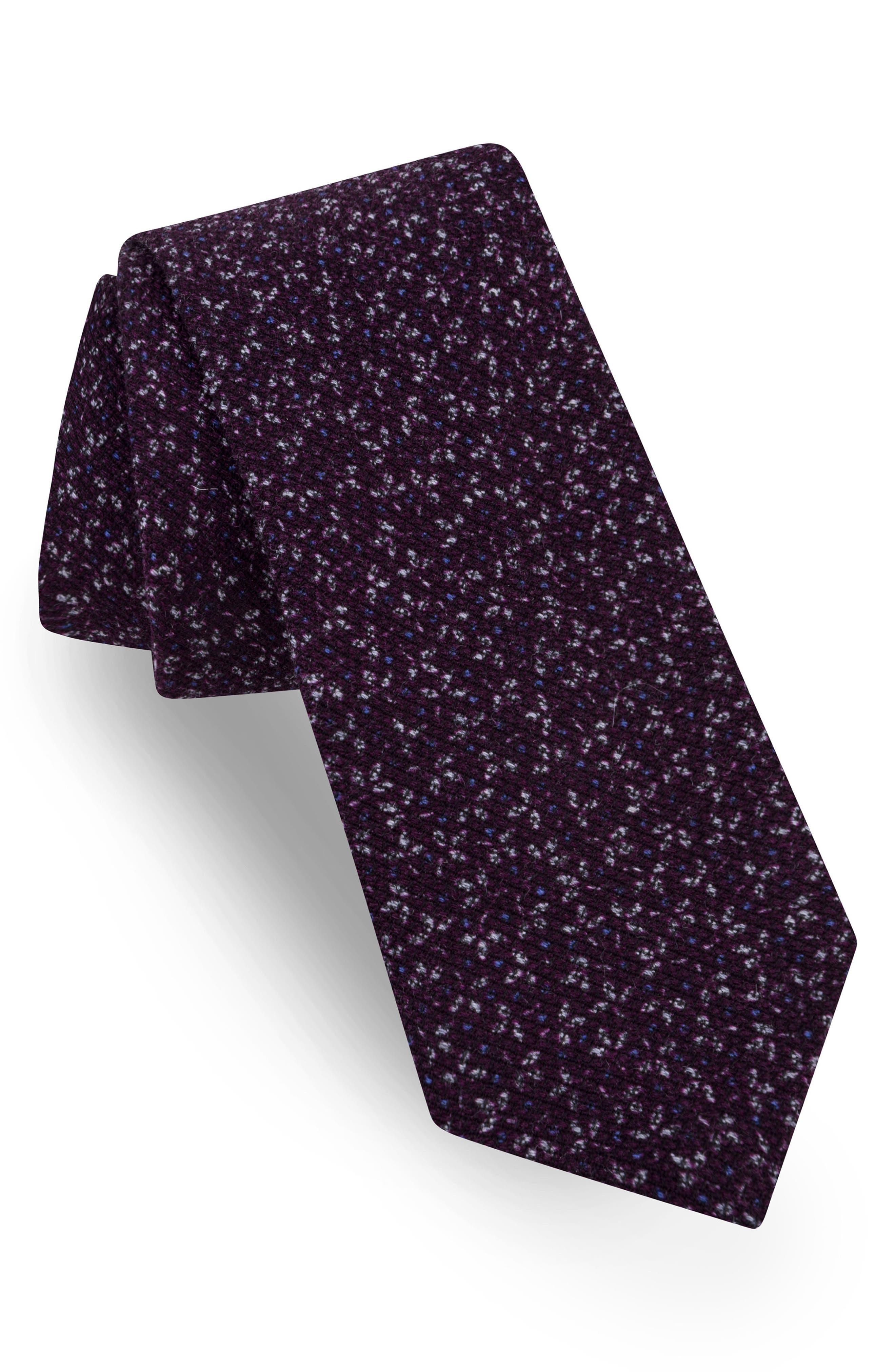 Print Silk Tie,                         Main,                         color, Purple