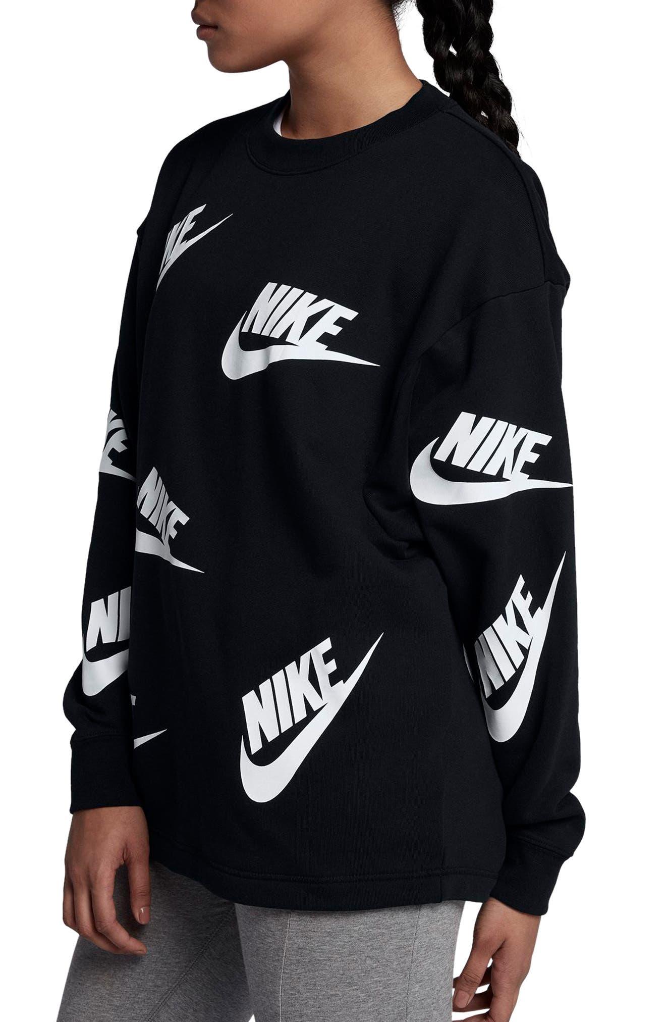 Sportswear Futura Sweatshirt,                             Alternate thumbnail 3, color,                             Black/ White