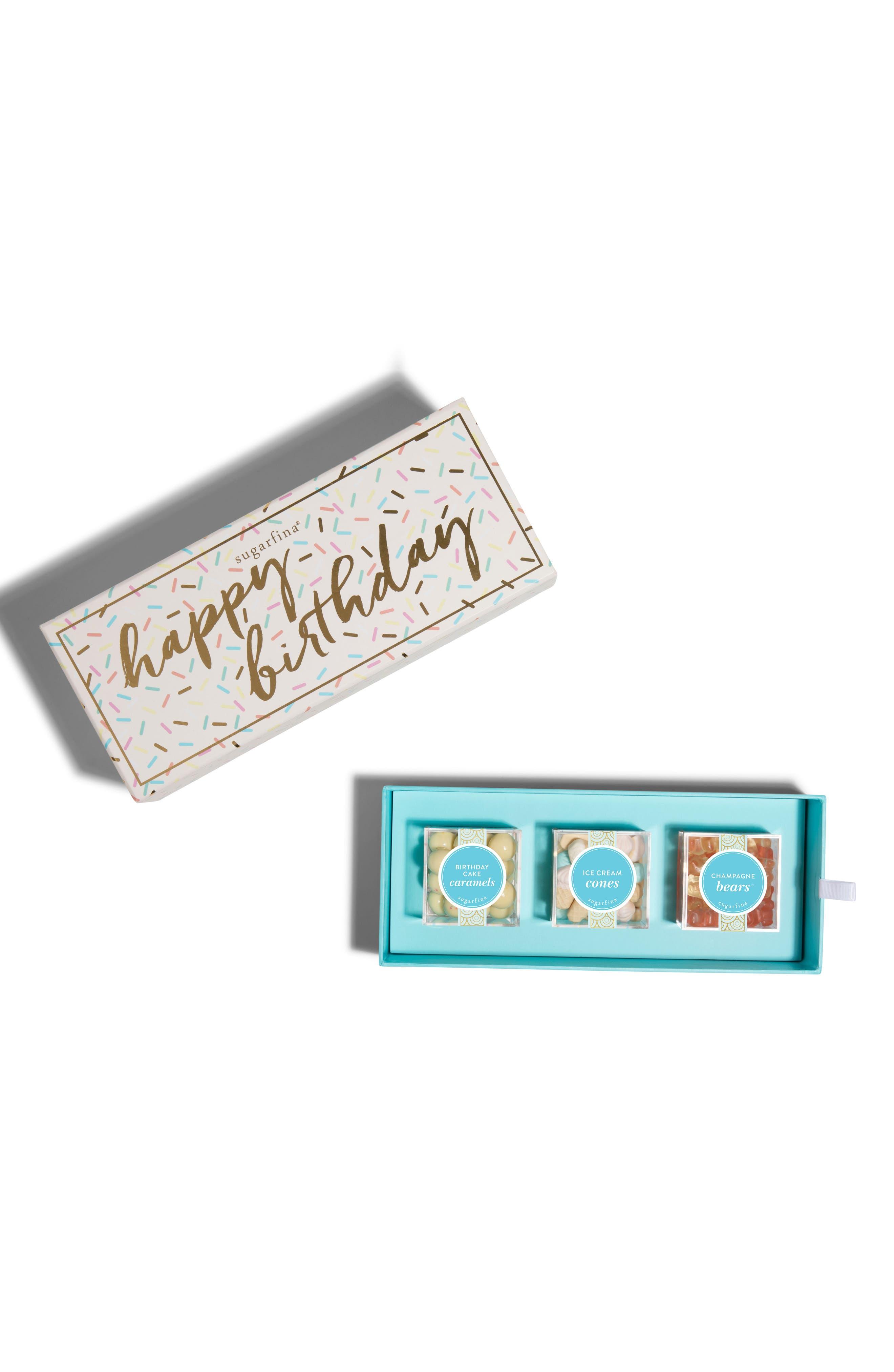 Happy Birthday 3-Piece Candy Bento Box,                         Main,                         color, White