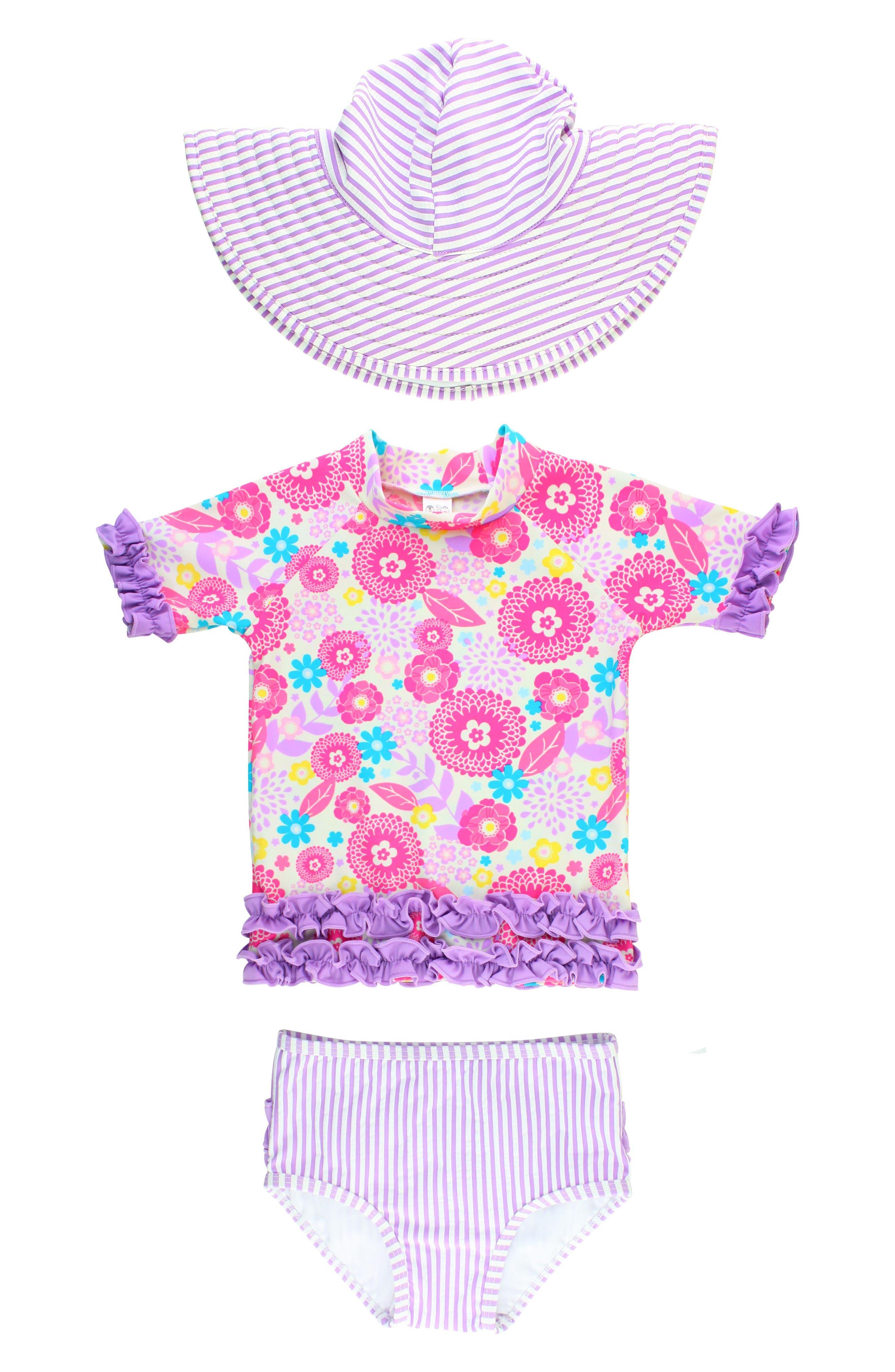 Ruffle Butts Blooming Buttercups Two-Piece Rashguard Swimsuit & Sun Hat,                         Main,                         color, Purple