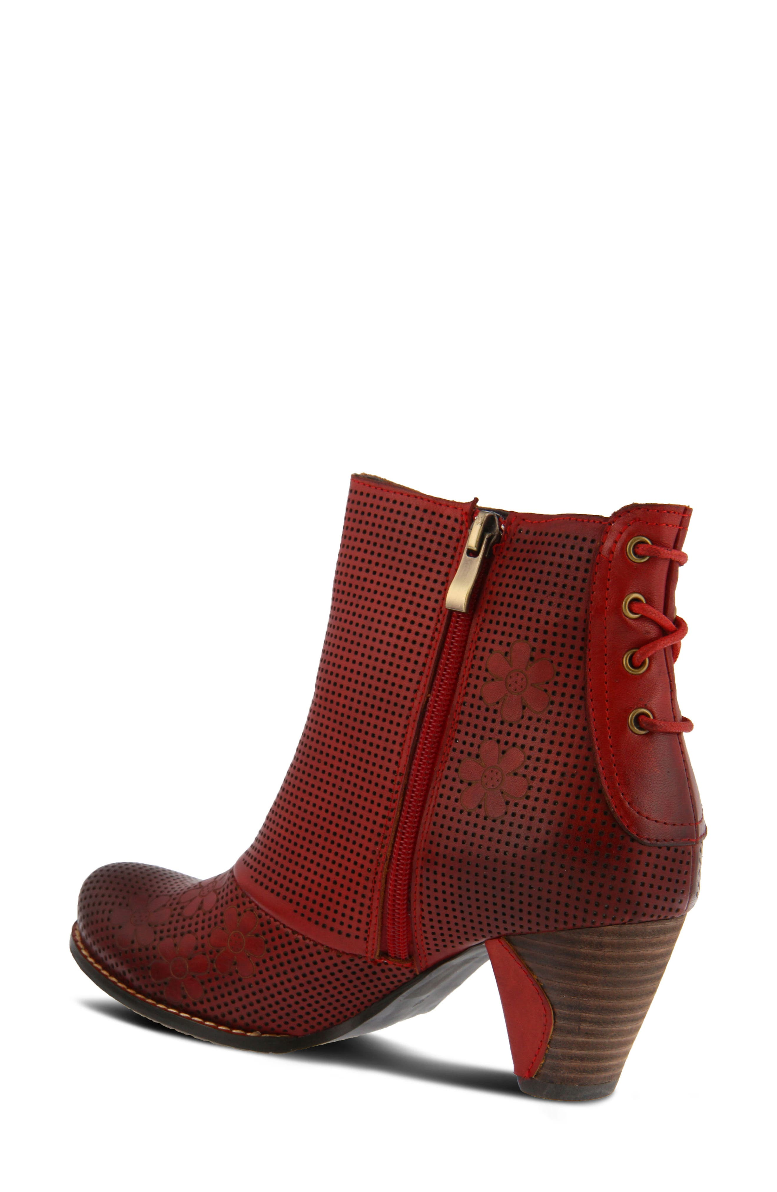 L'Artiste Teca Bootie,                             Alternate thumbnail 2, color,                             Red Leather