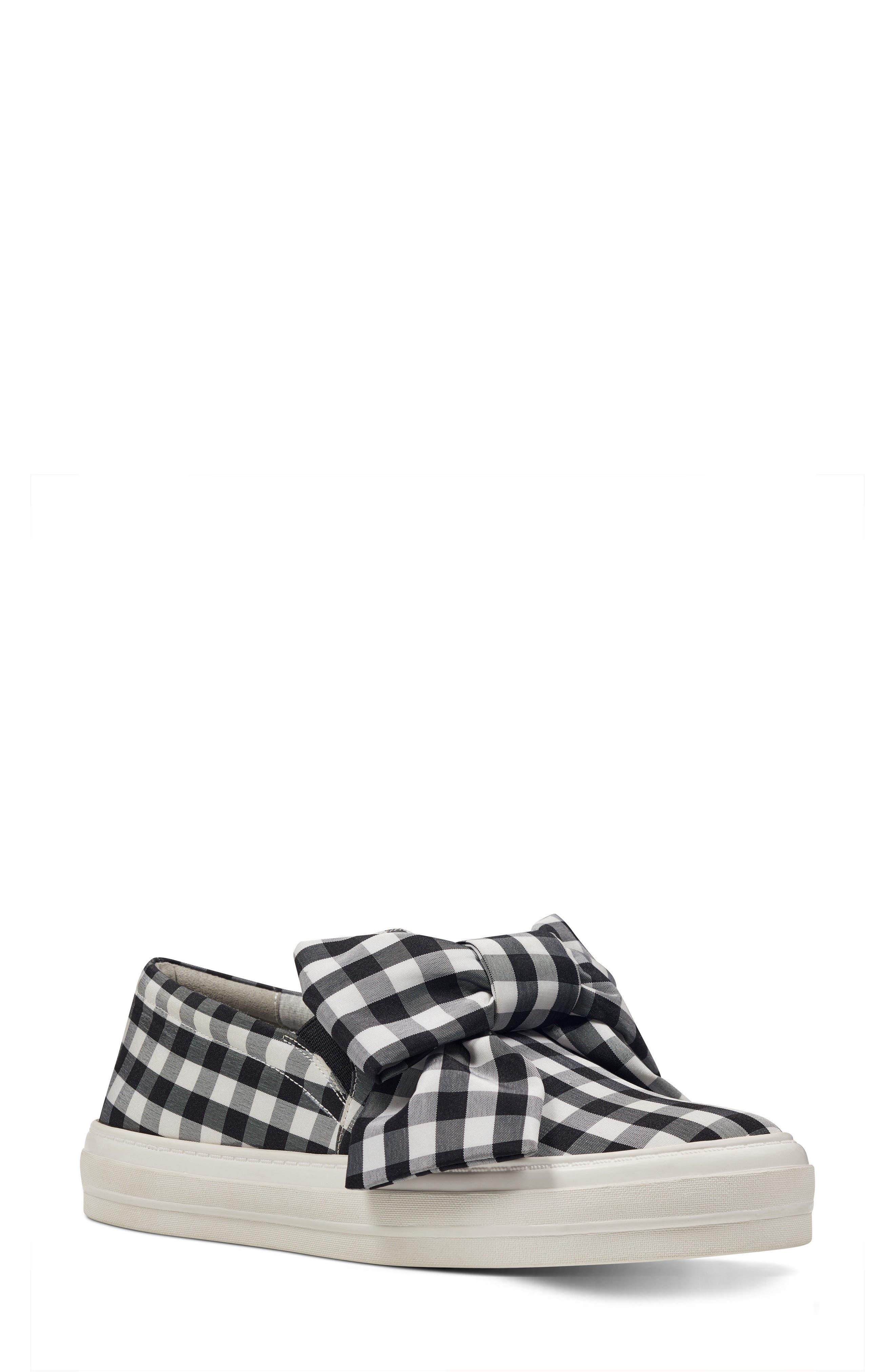 Onosha Bow Slip-On Sneaker,                             Main thumbnail 1, color,                             Black/ White Fabric