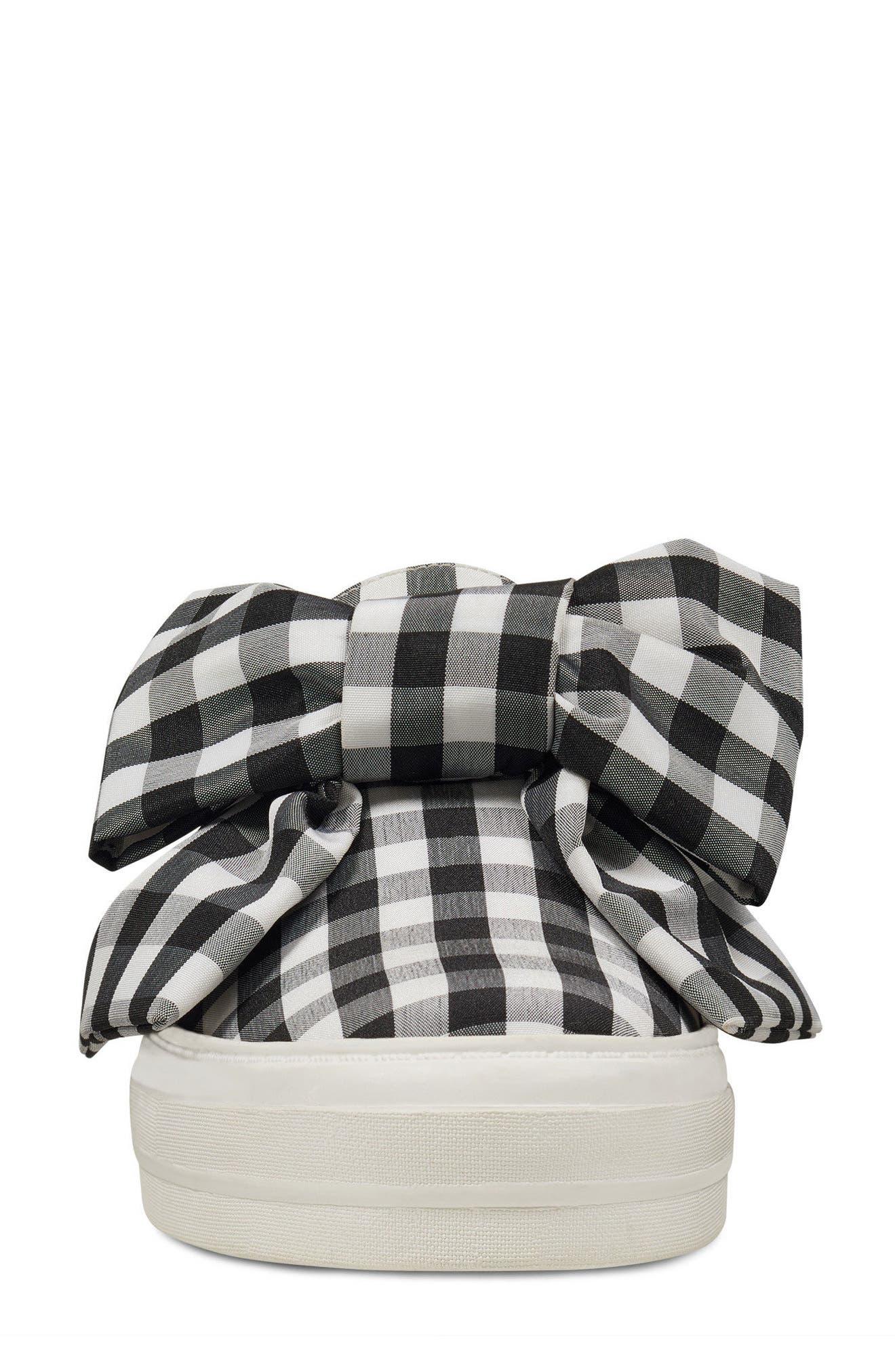 Onosha Bow Slip-On Sneaker,                             Alternate thumbnail 4, color,                             Black/ White Fabric