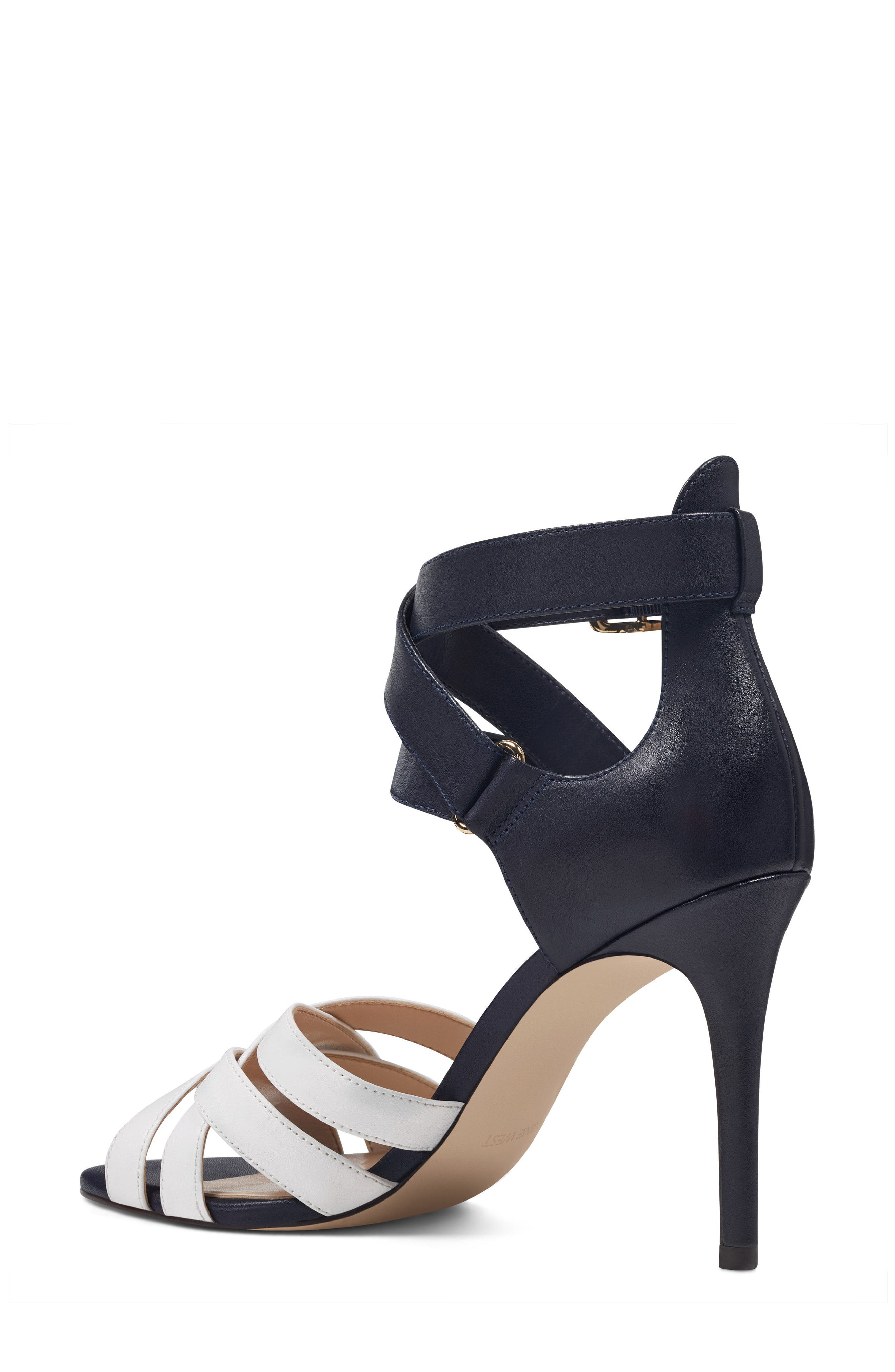 McGlynn Strappy Sandal,                             Alternate thumbnail 2, color,                             Navy/ White Leather