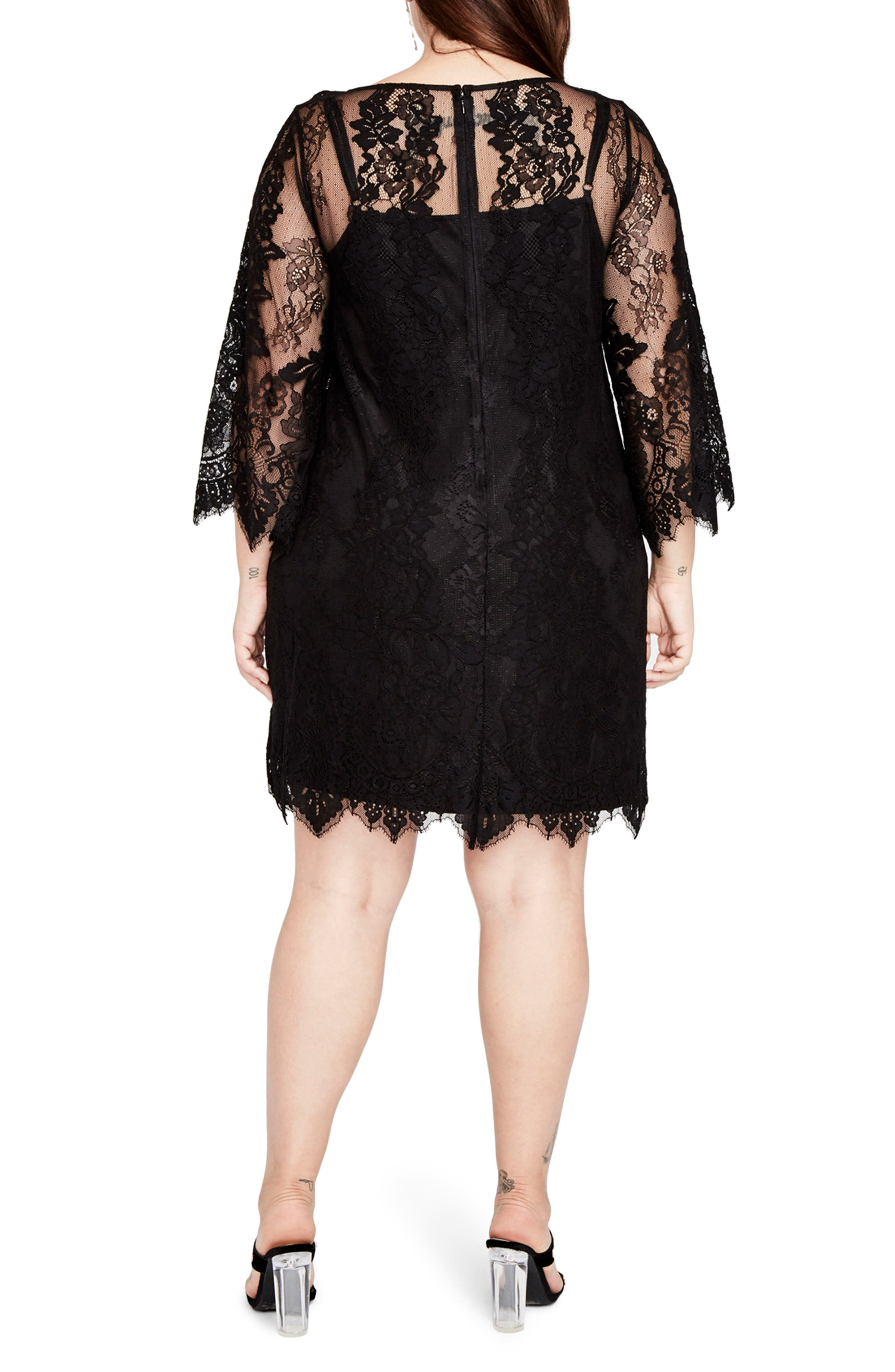 Bell Sleeve Lace Dress,                             Alternate thumbnail 2, color,                             Black