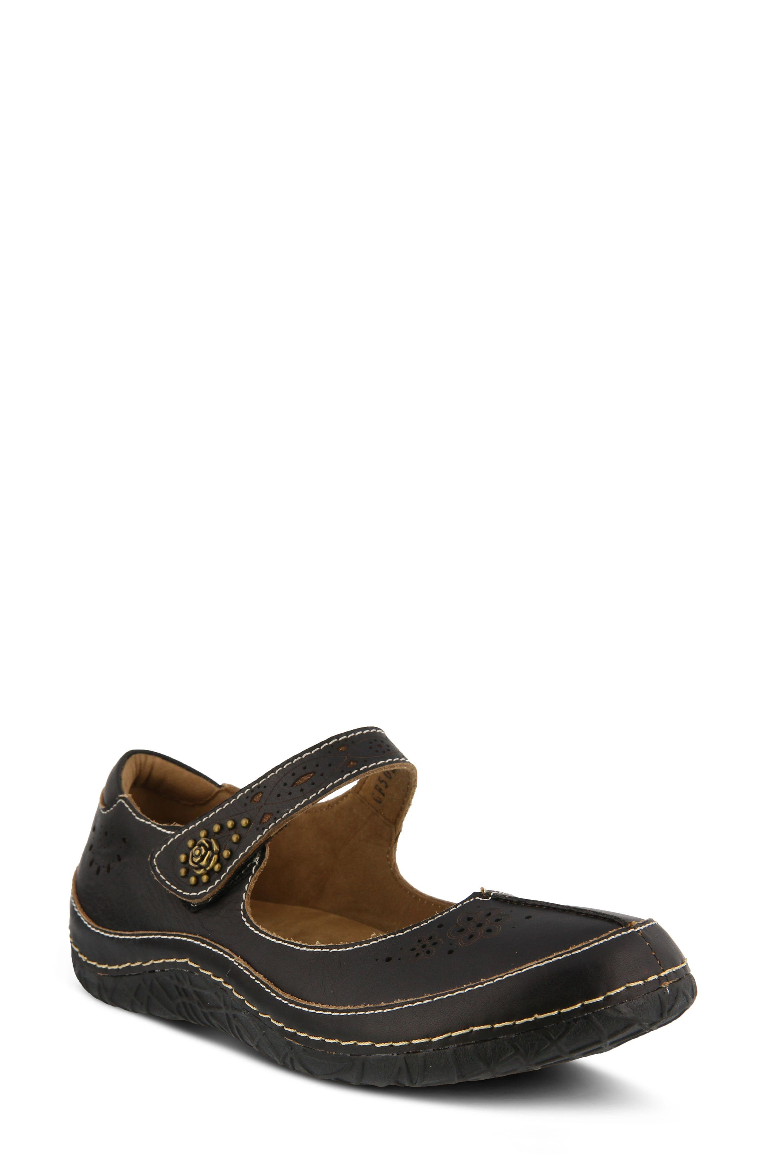 L'Artiste Lazarina Mary Jane Flat,                         Main,                         color, Black Leather