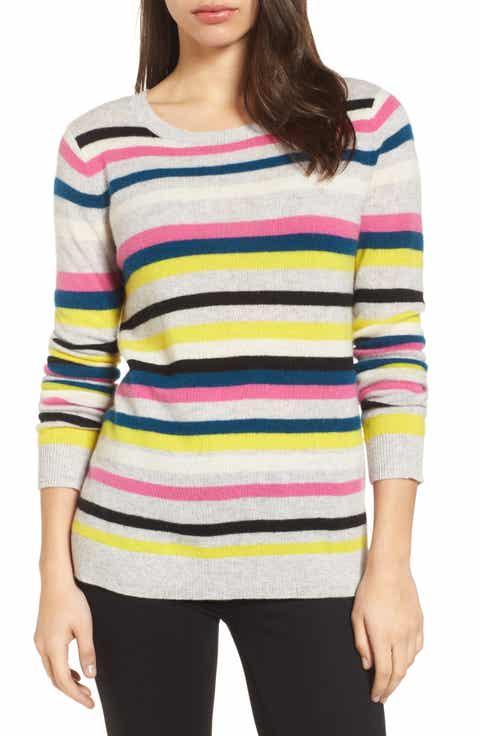 Halogen® Stripe Cashmere Sweater (Regular & Petite)