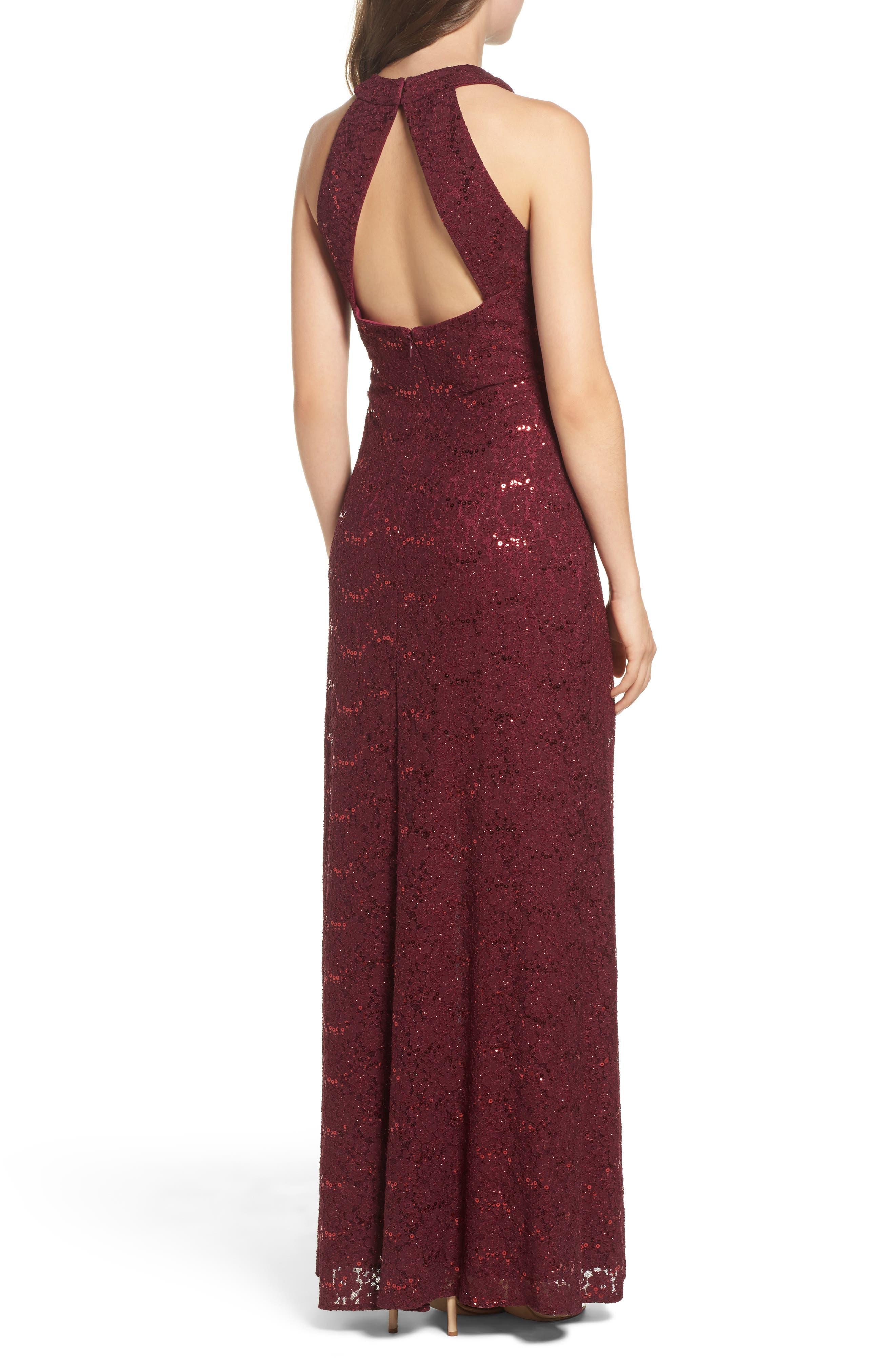 Keyhole Lace Column Gown,                             Alternate thumbnail 2, color,                             Merlot
