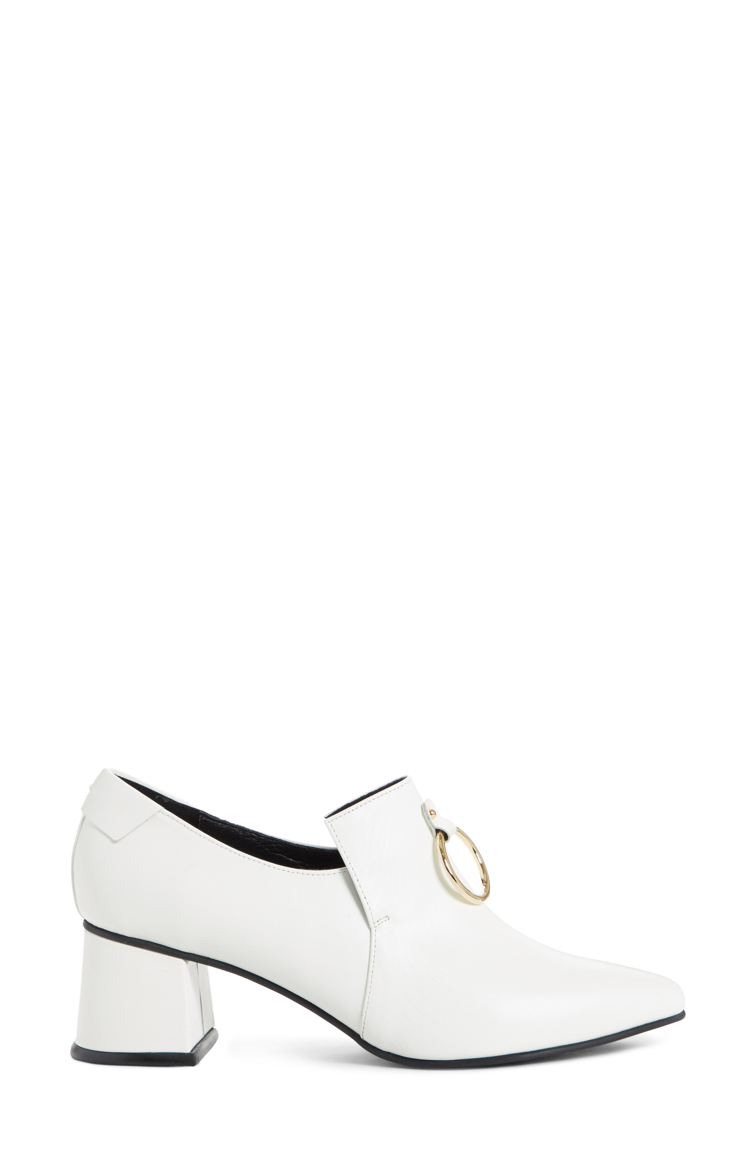 Ring Middle Loafer Pump,                             Alternate thumbnail 3, color,                             White