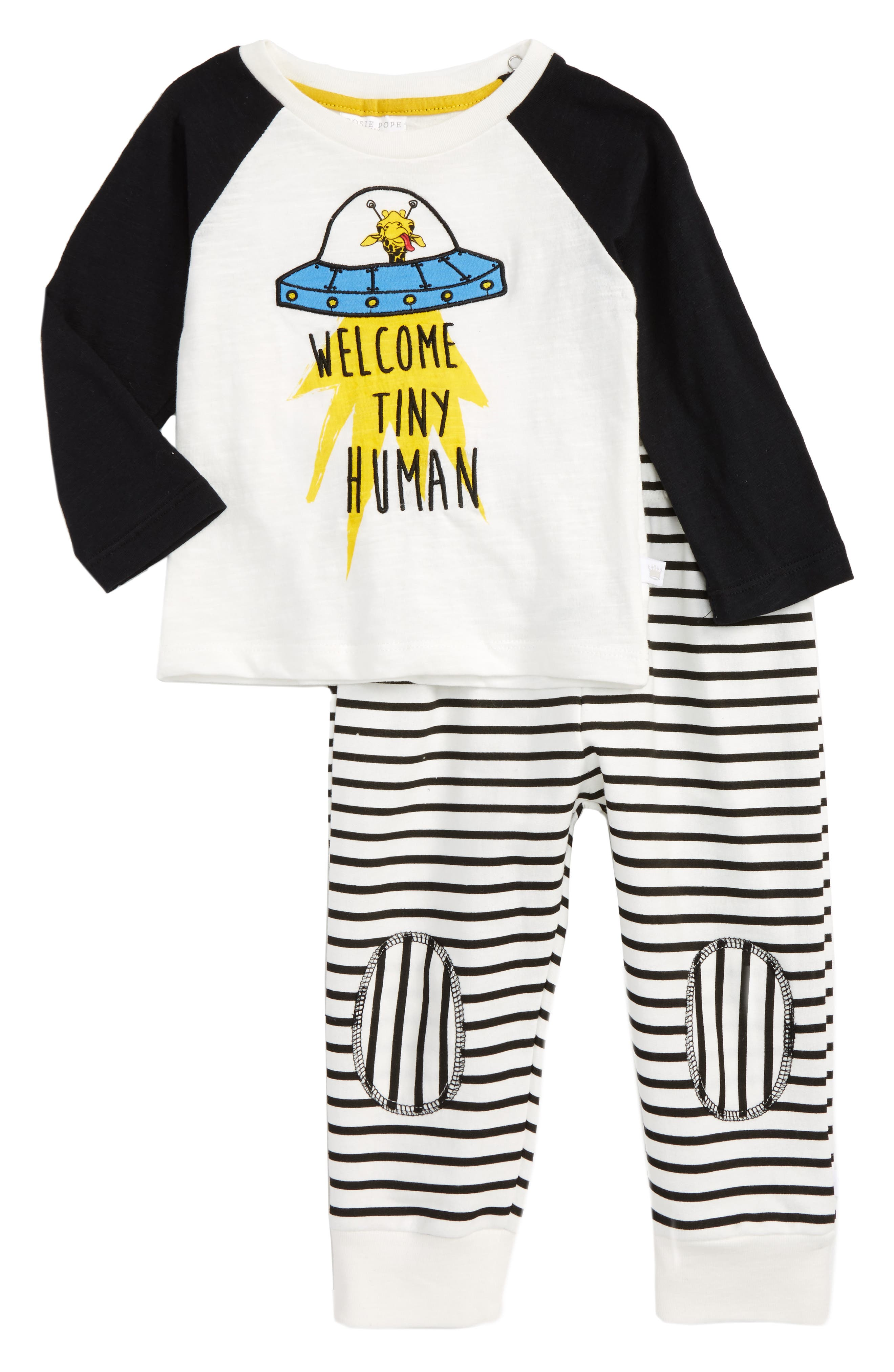Rosie Pope Welcome Tiny Human Graphic T-Shirt & Stripe Pants Set (Baby Boys)