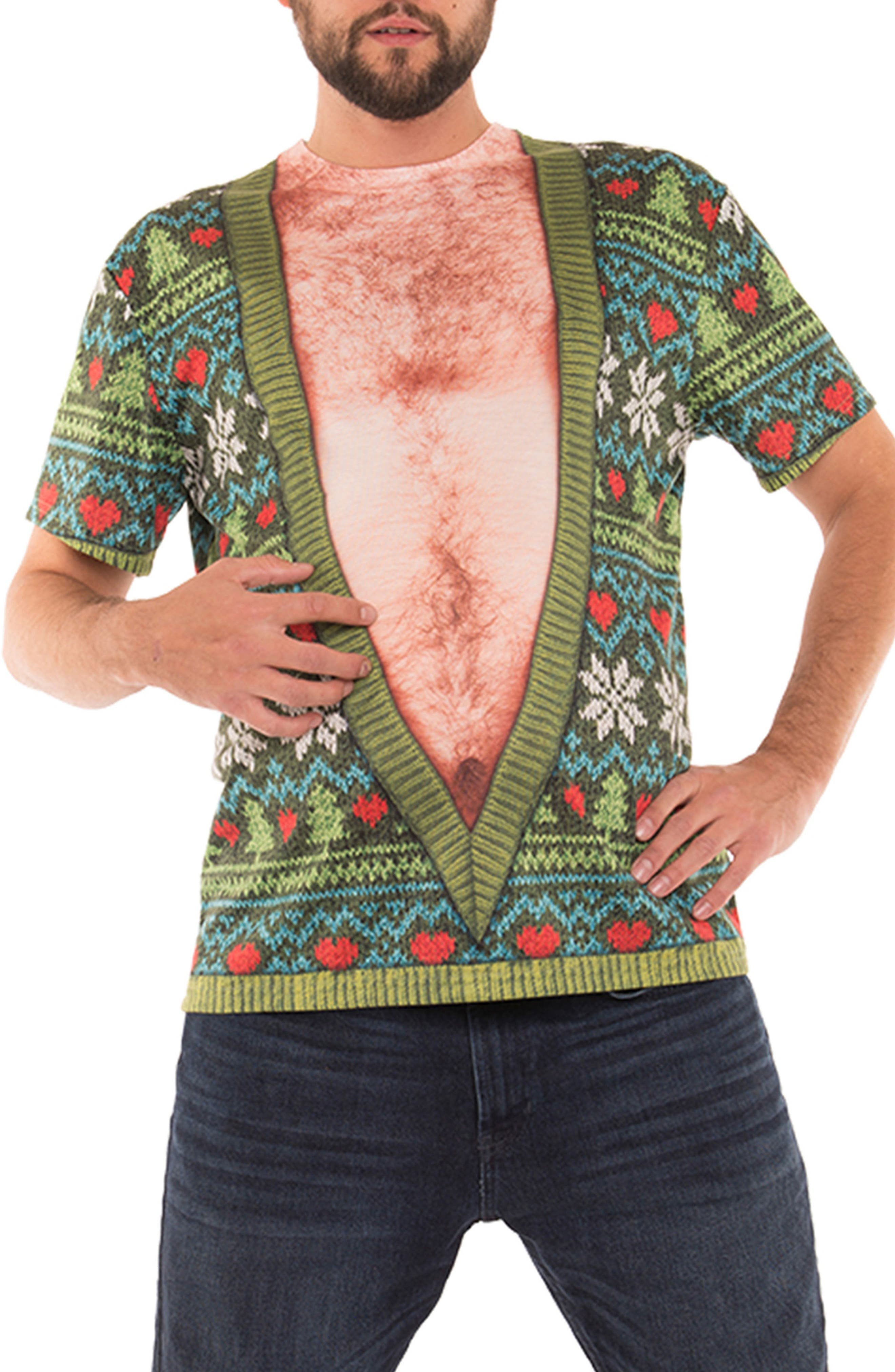 Faux Real Deep-V Ugly Christmas Sweater Costume T-Shirt