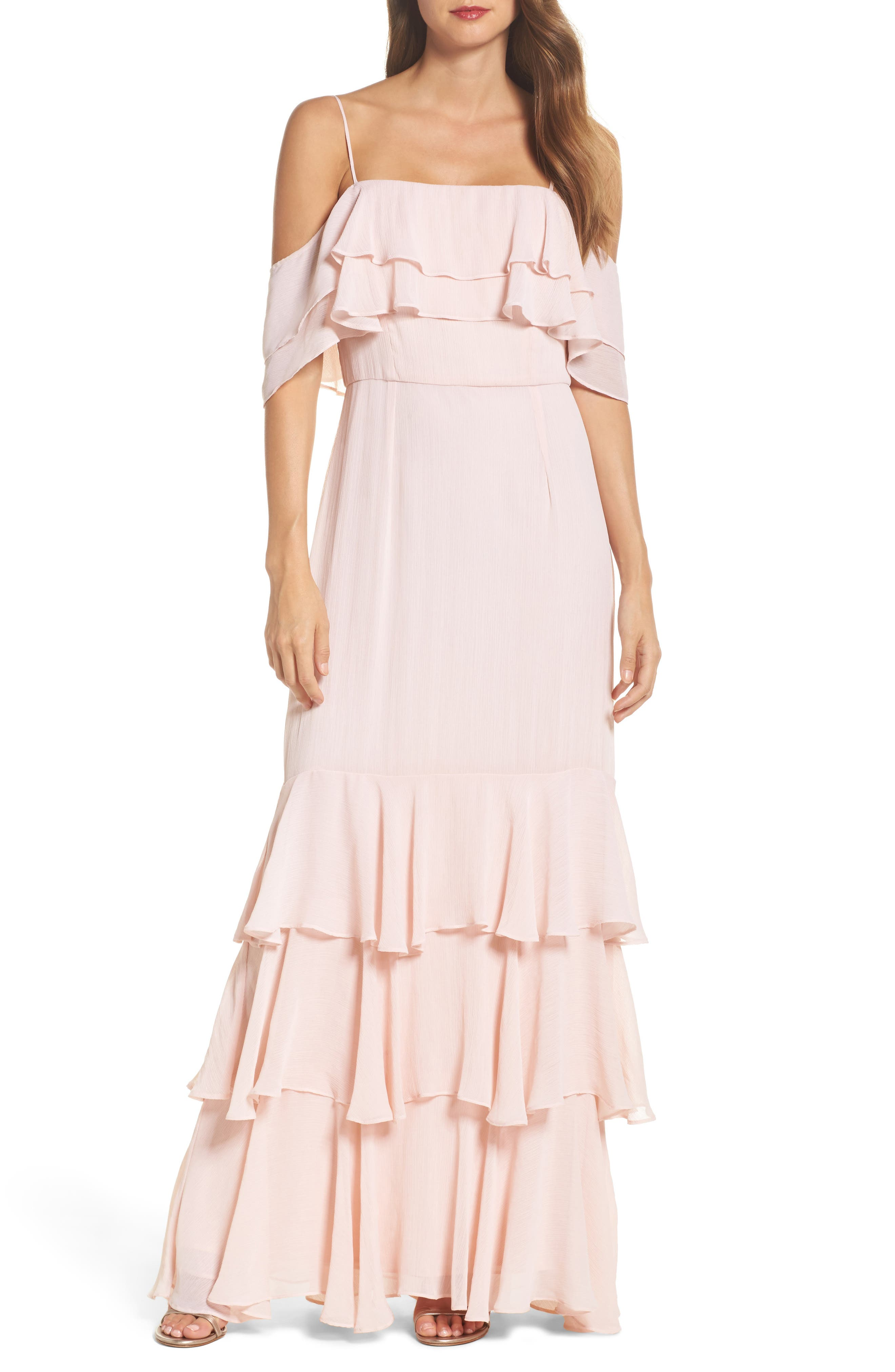Lauren Cold Shoulder Tiered Gown,                             Main thumbnail 1, color,                             Sandalwood