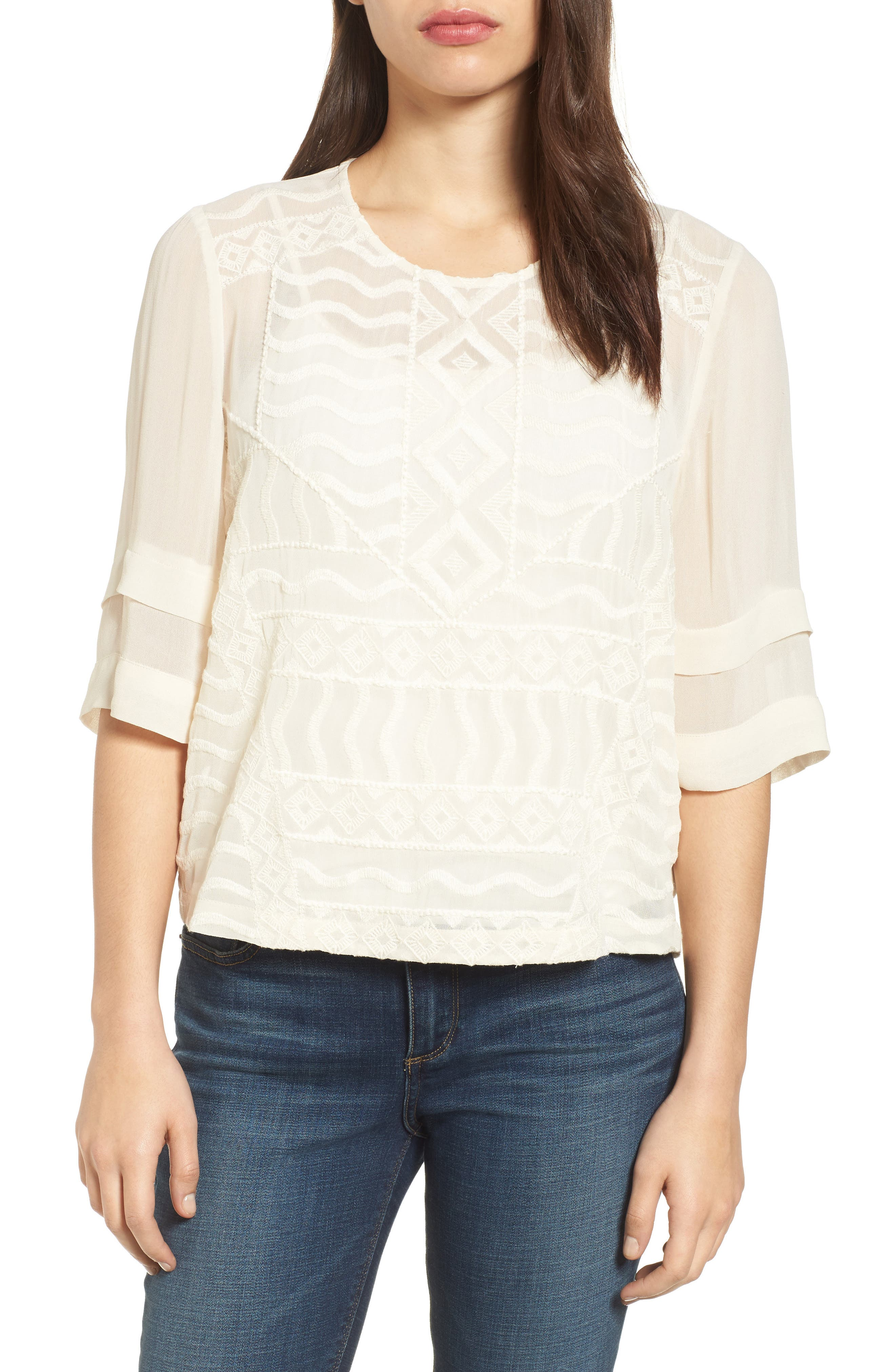 Lucky Brand Embroidered Front Blouse