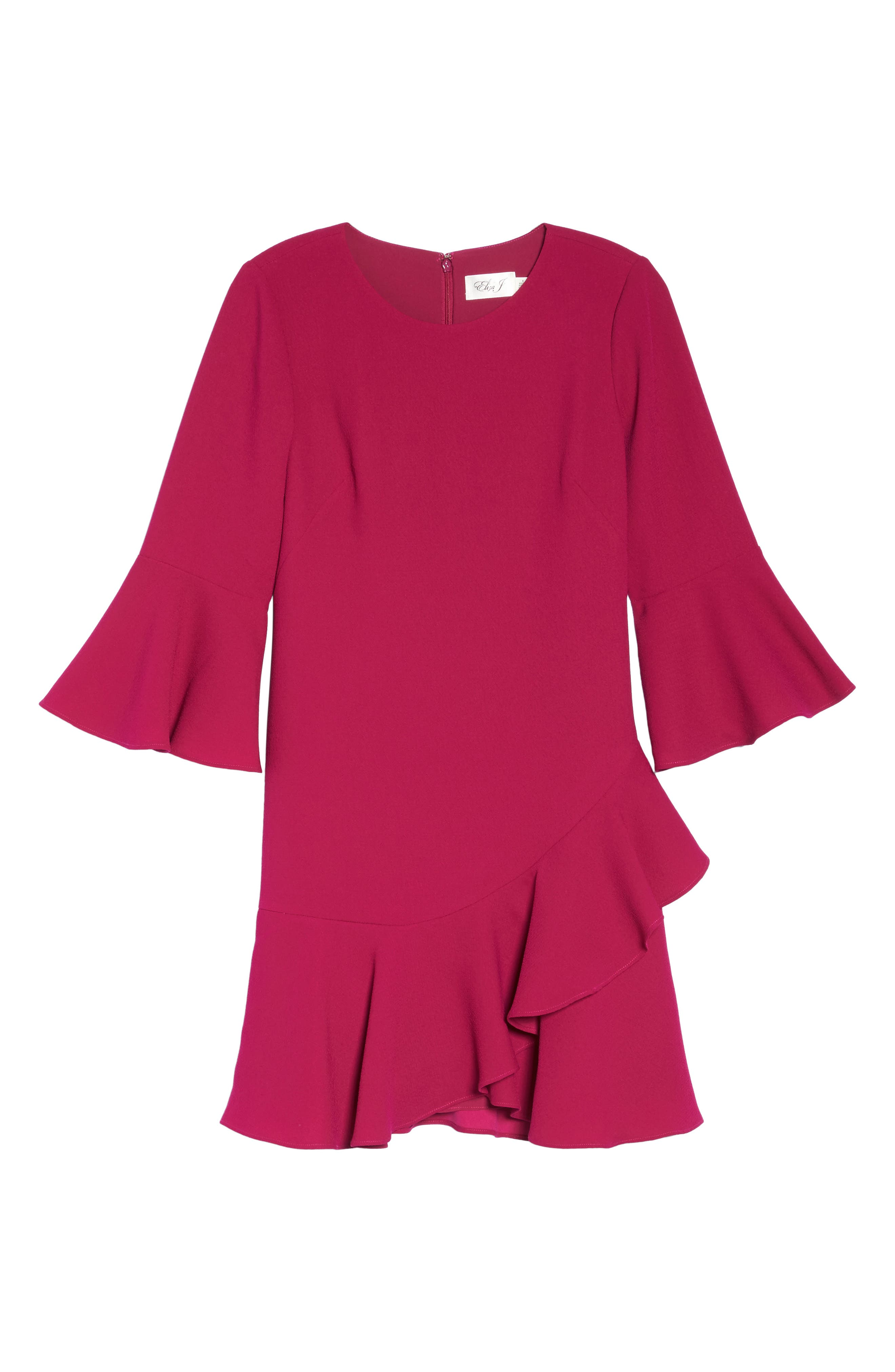Bell Sleeve Fit & Flare Dress,                             Alternate thumbnail 6, color,                             Magenta