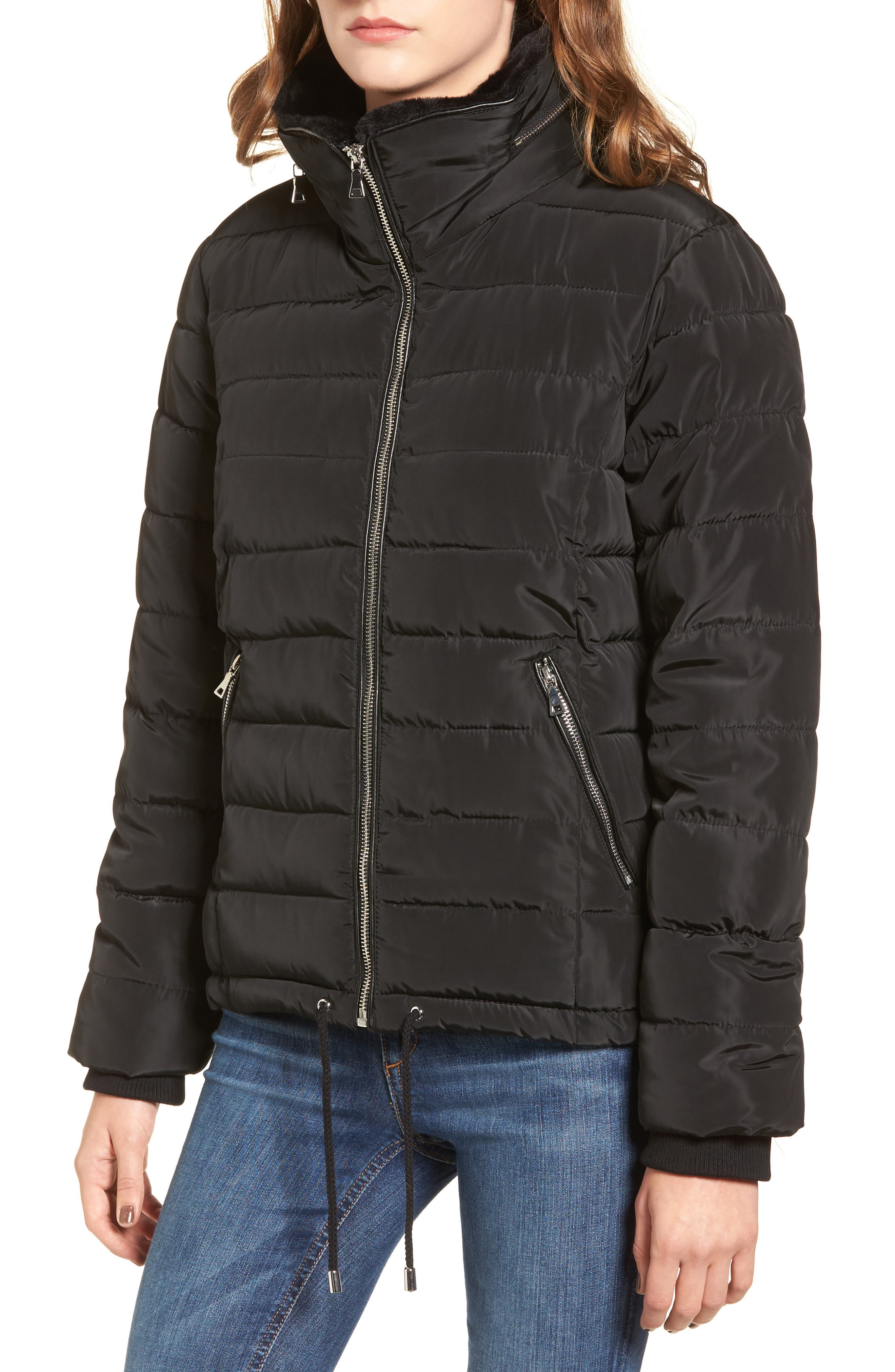 Puffer Jacket with Faux Fur,                             Alternate thumbnail 3, color,                             Black