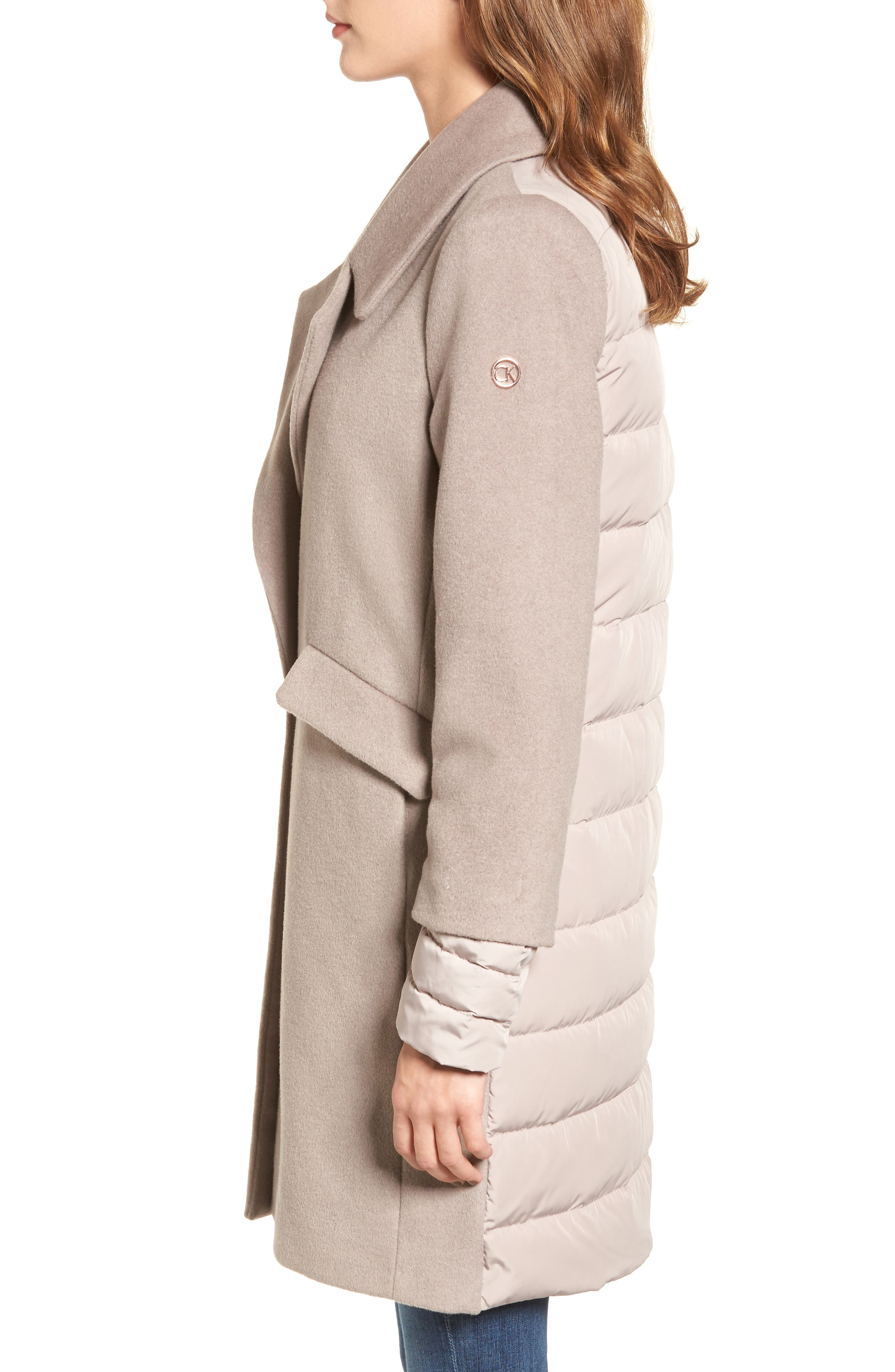 Wool & Down Reefer Coat,                             Alternate thumbnail 3, color,                             Thistle