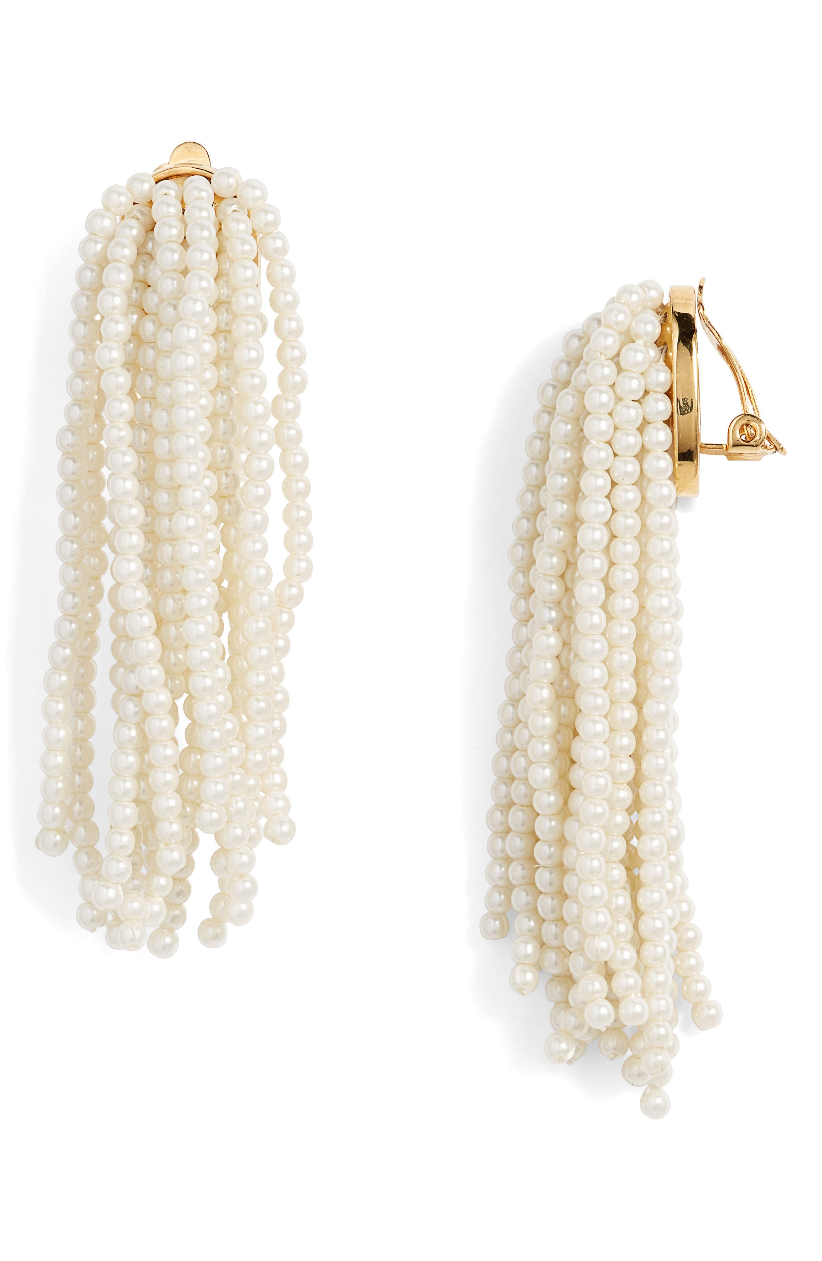 Lele Sadoughi Imitation Pearl Clip Drop Earrings