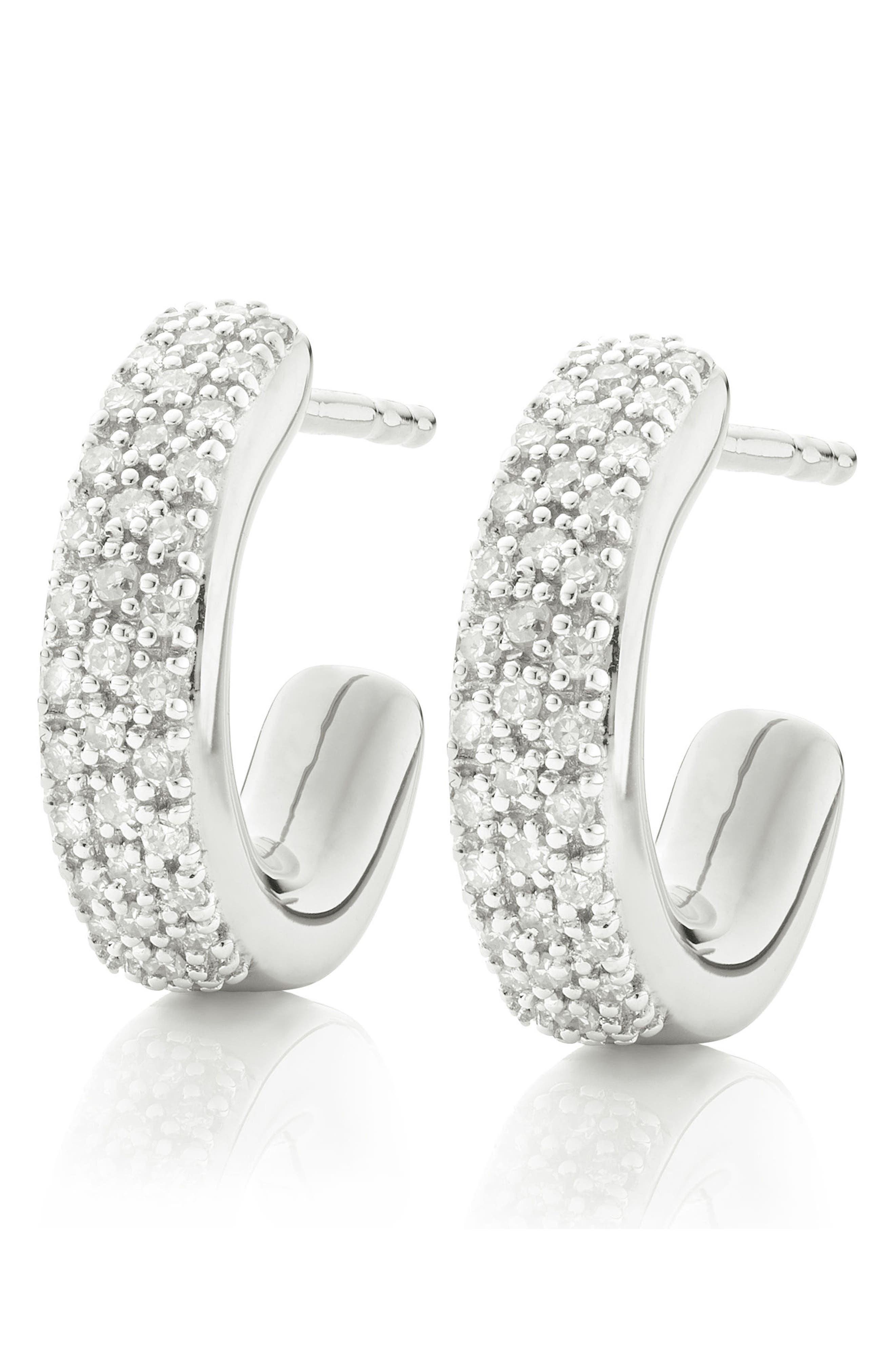 Fiji Mini Diamond Hoop Earrings,                             Alternate thumbnail 4, color,                             Silver