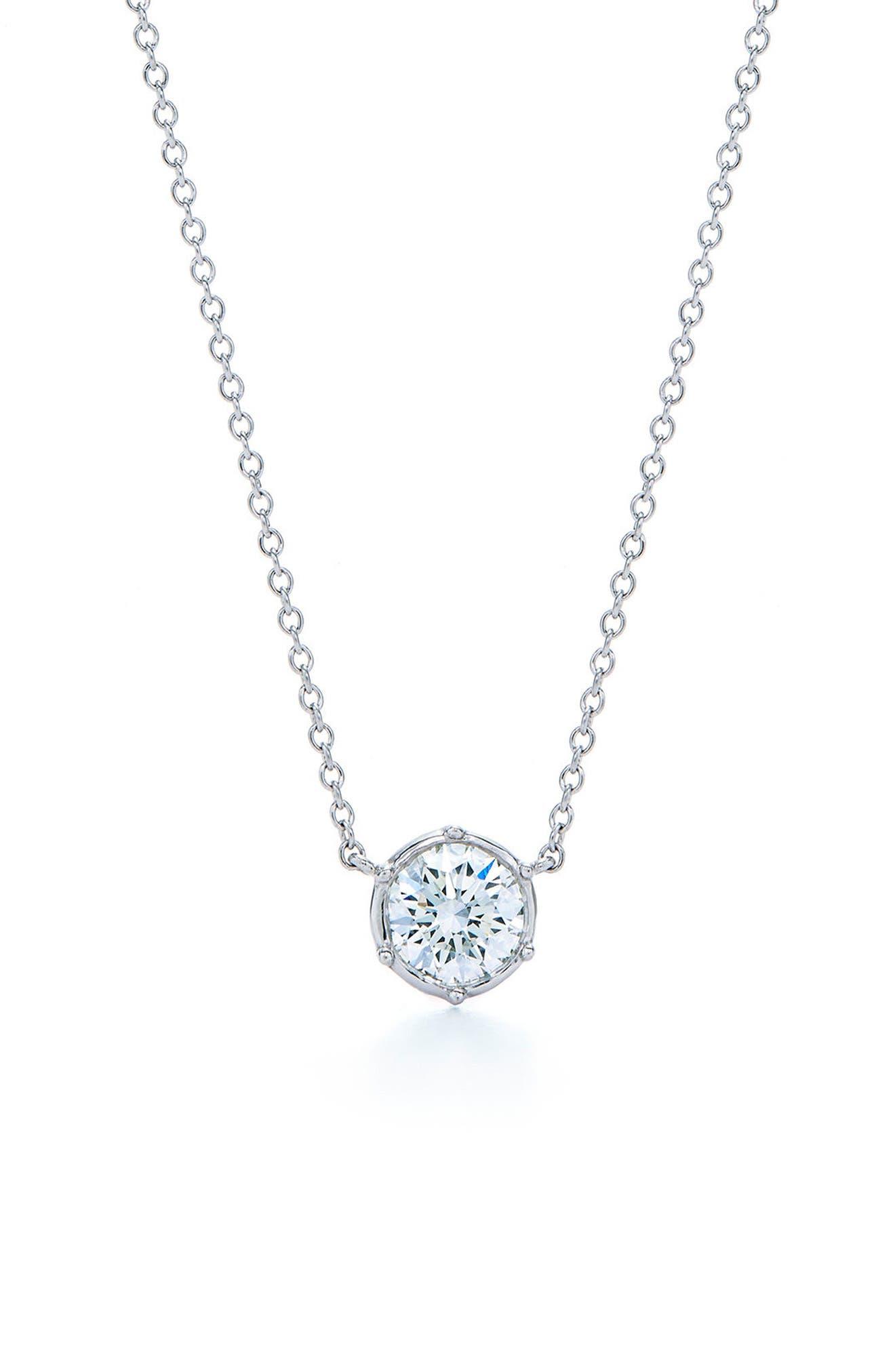 Classic Diamond Bezel Pendant Necklace,                             Main thumbnail 1, color,                             White Gold