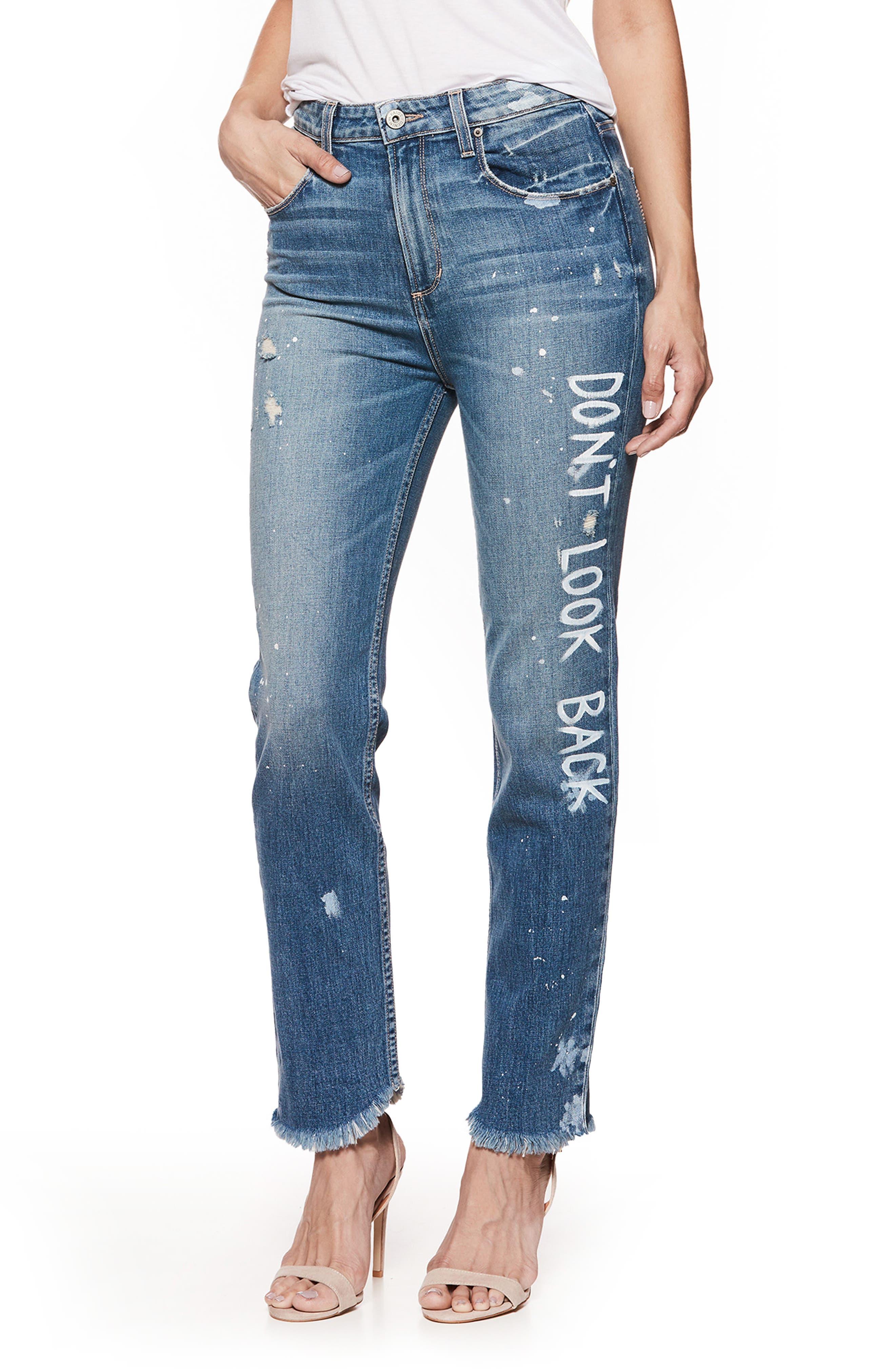Sarah High Waist Straight Leg Jeans,                         Main,                         color, Blue