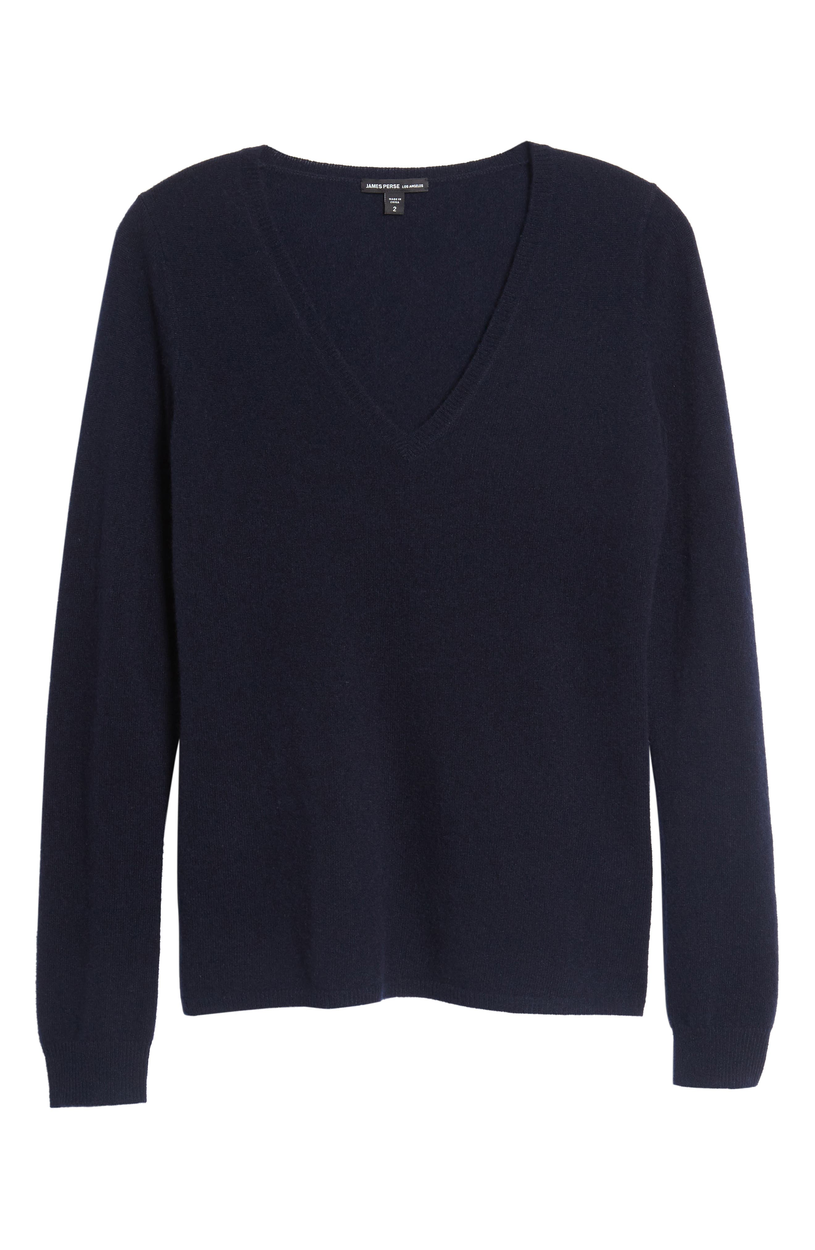 Cashmere V-Neck Sweater,                             Alternate thumbnail 6, color,                             French Navy