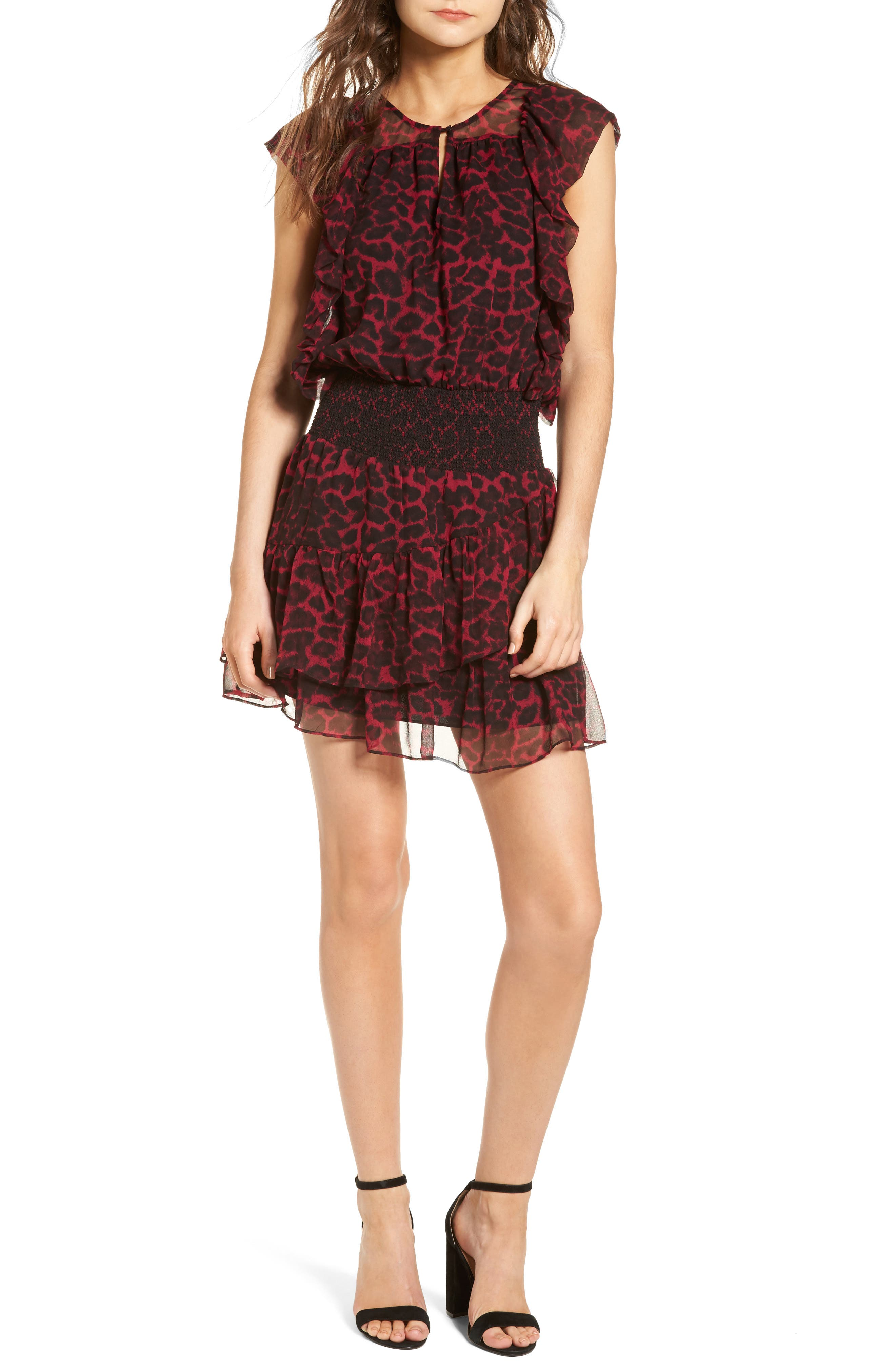 Tigris Smock Waist Dress,                         Main,                         color, Hollyberry