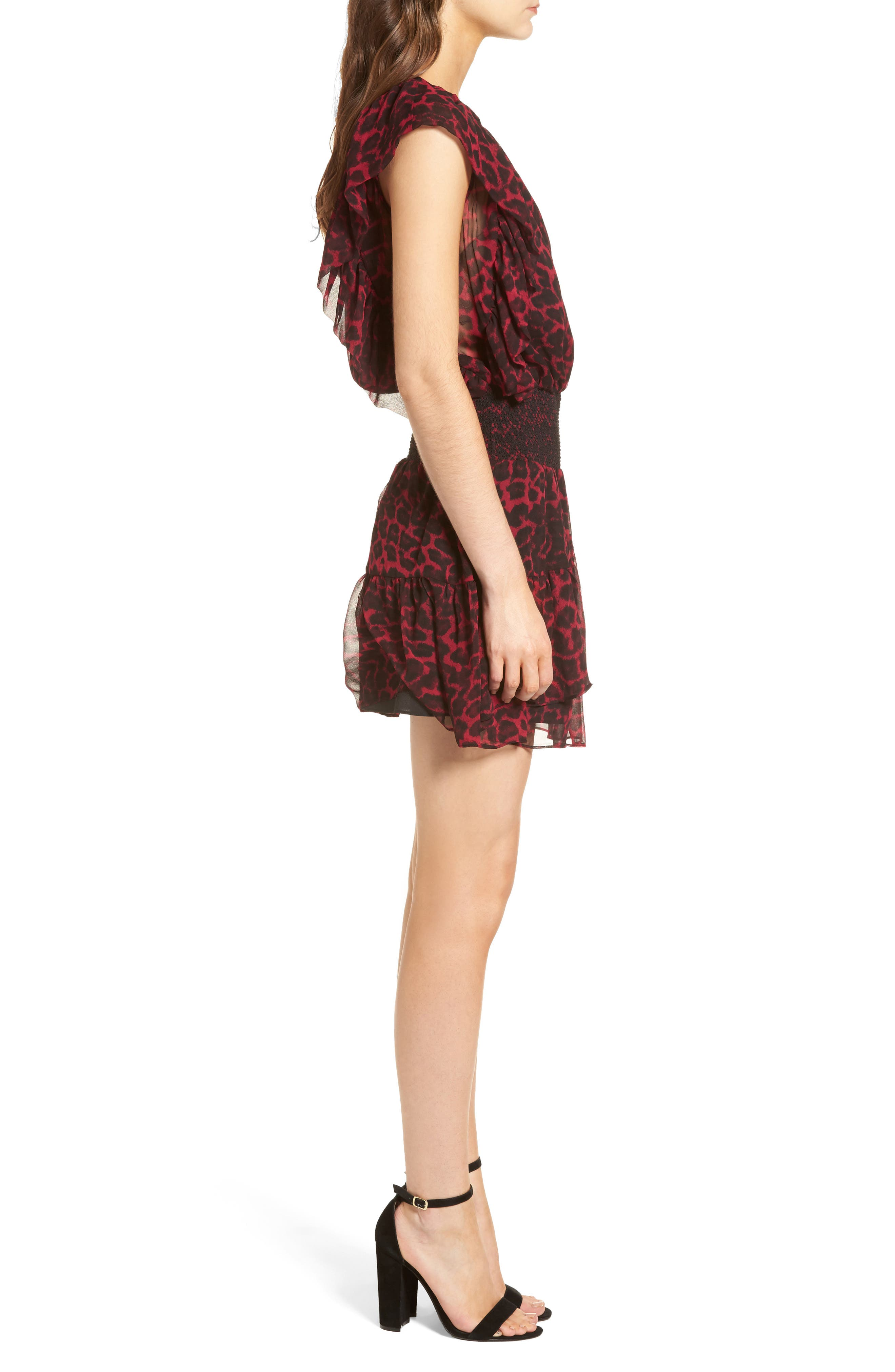 Tigris Smock Waist Dress,                             Alternate thumbnail 3, color,                             Hollyberry