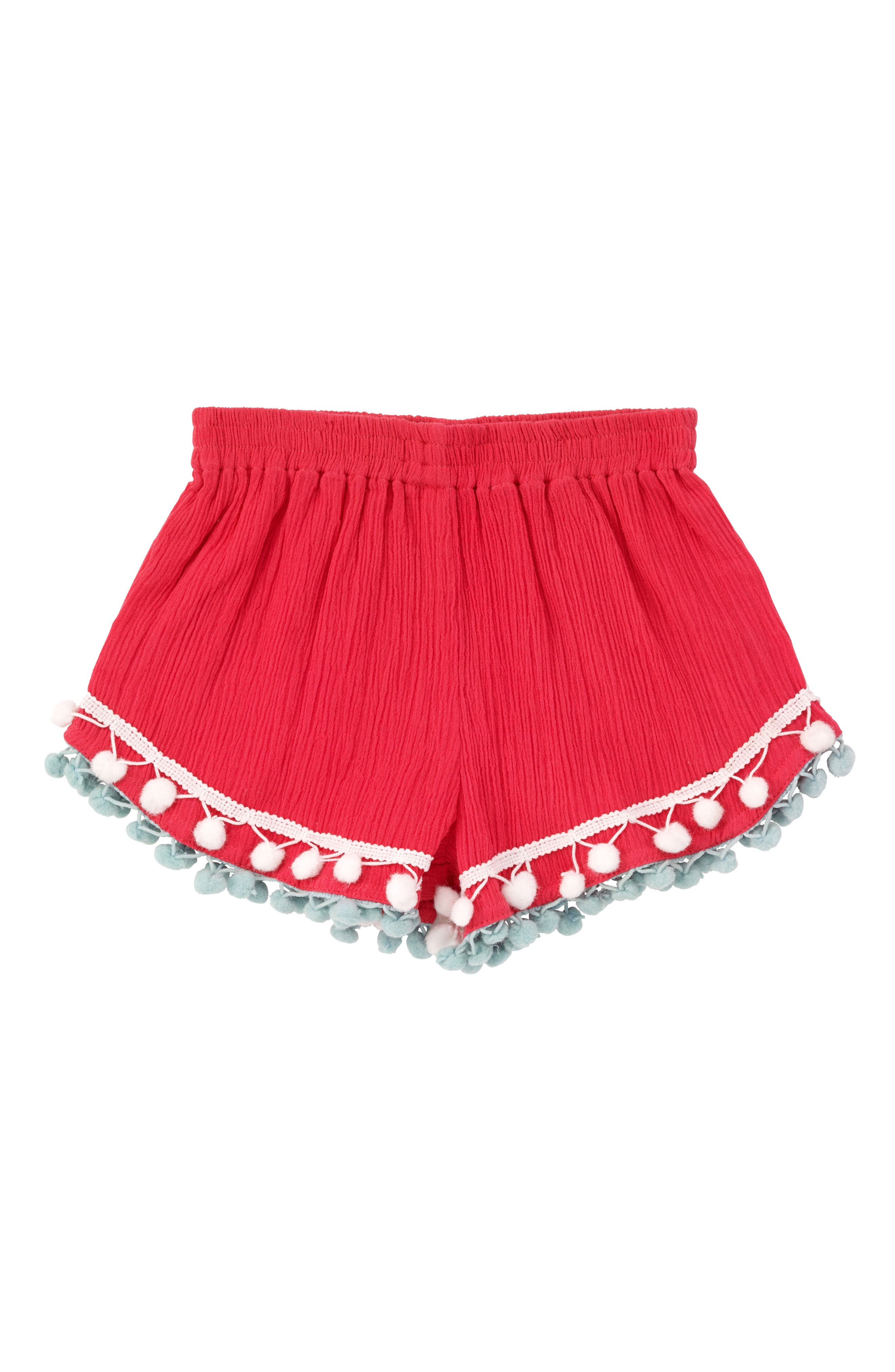 Pompom Shorts,                         Main,                         color, Coral