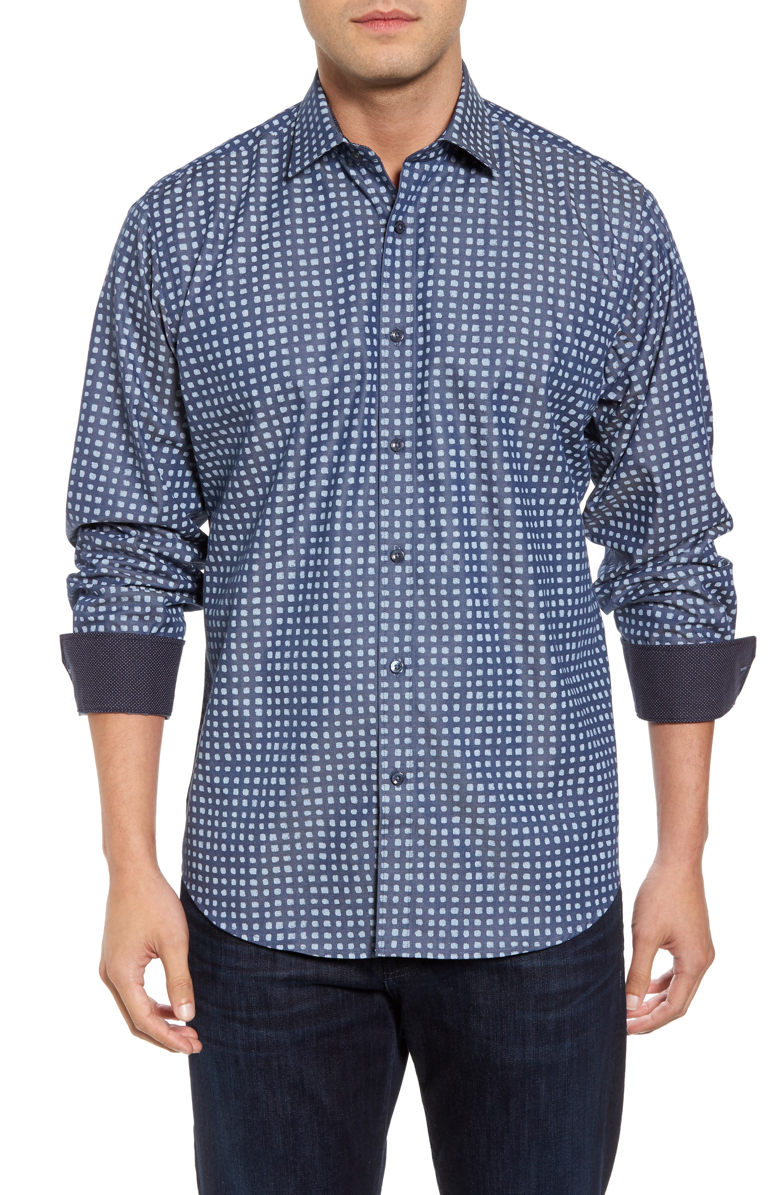 Classic Fit Dot Print Sport Shirt,                         Main,                         color, Indigo