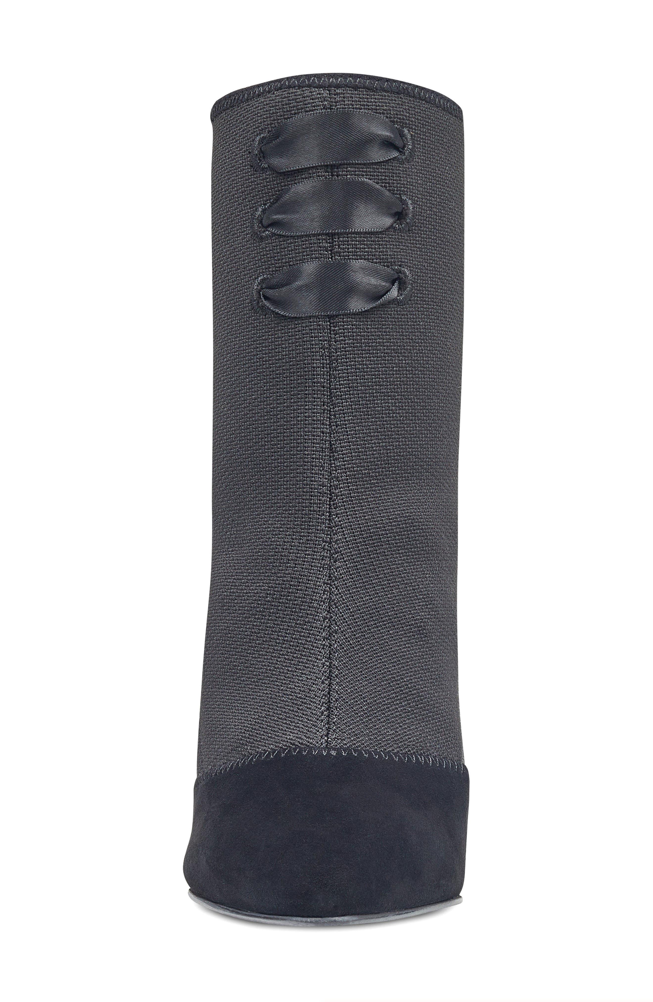 Carolina Pointy Toe Bootie,                             Alternate thumbnail 4, color,                             Black Multi Fabric