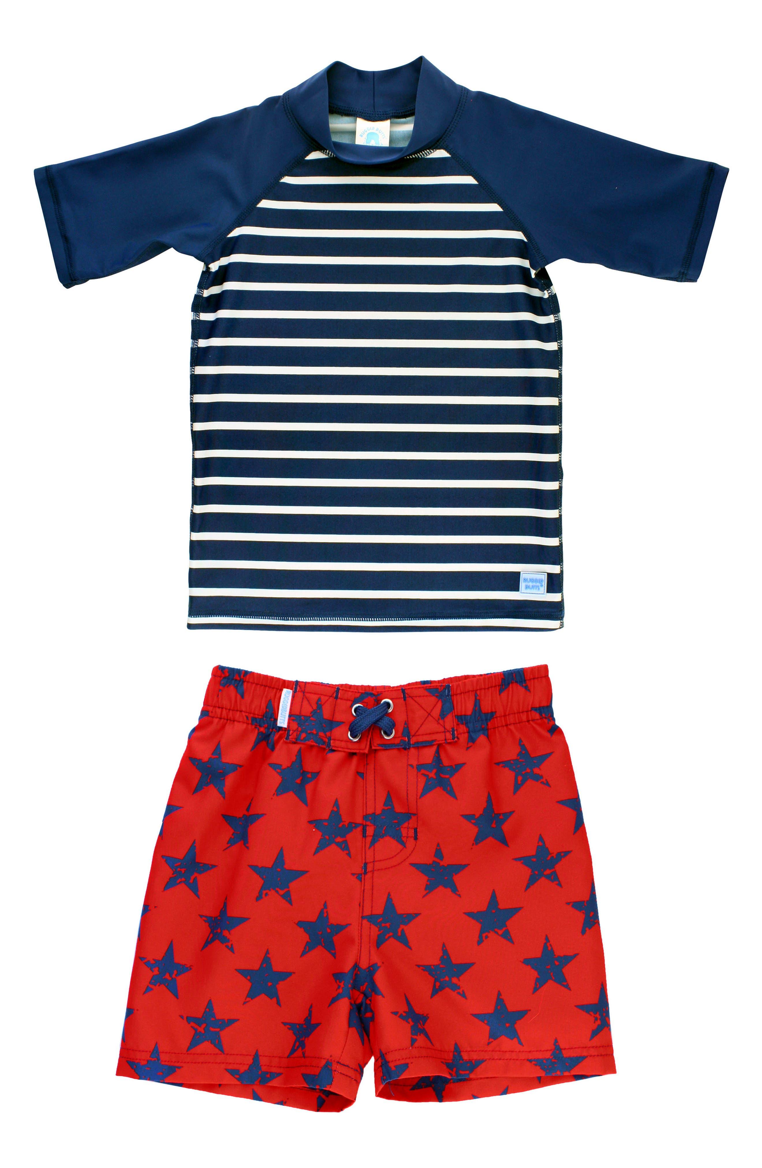 Navy Stripe Two-Piece Rashguard Swimsuit,                             Main thumbnail 1, color,                             Blue