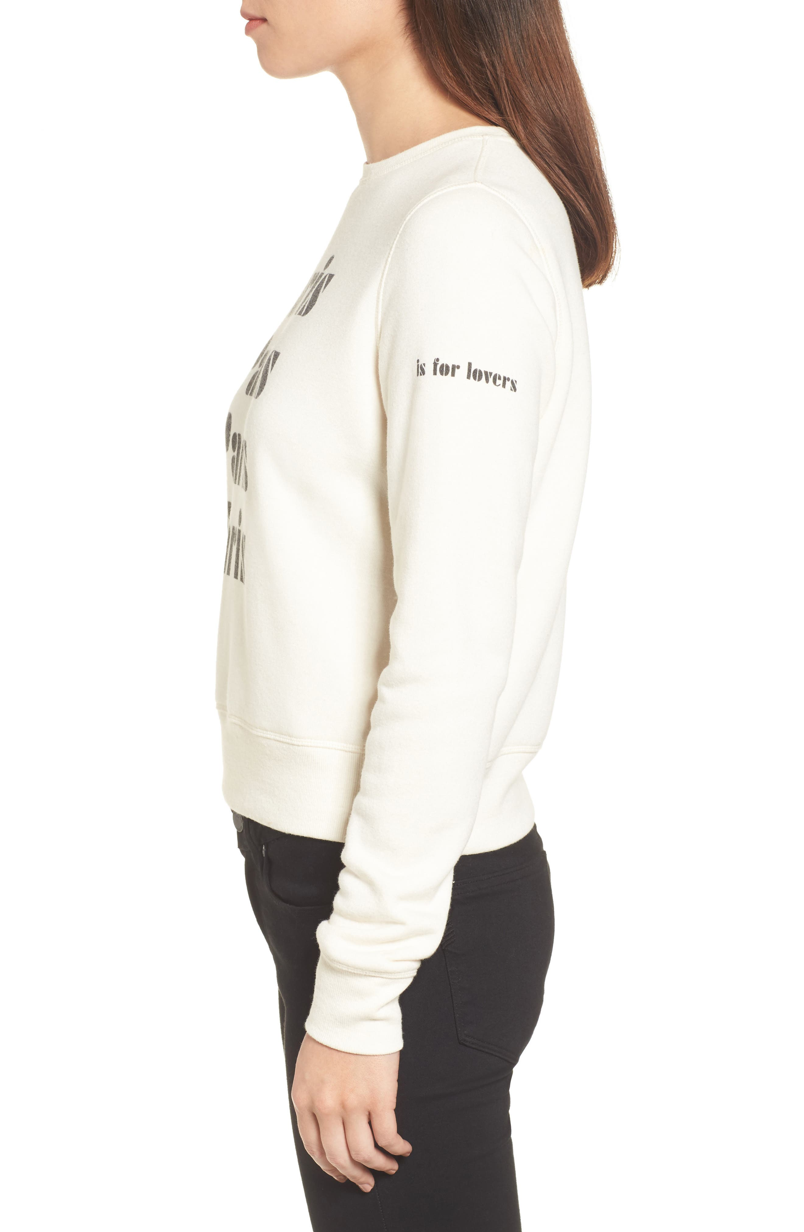 Paris Sweatshirt,                             Alternate thumbnail 3, color,                             Off White/ Black