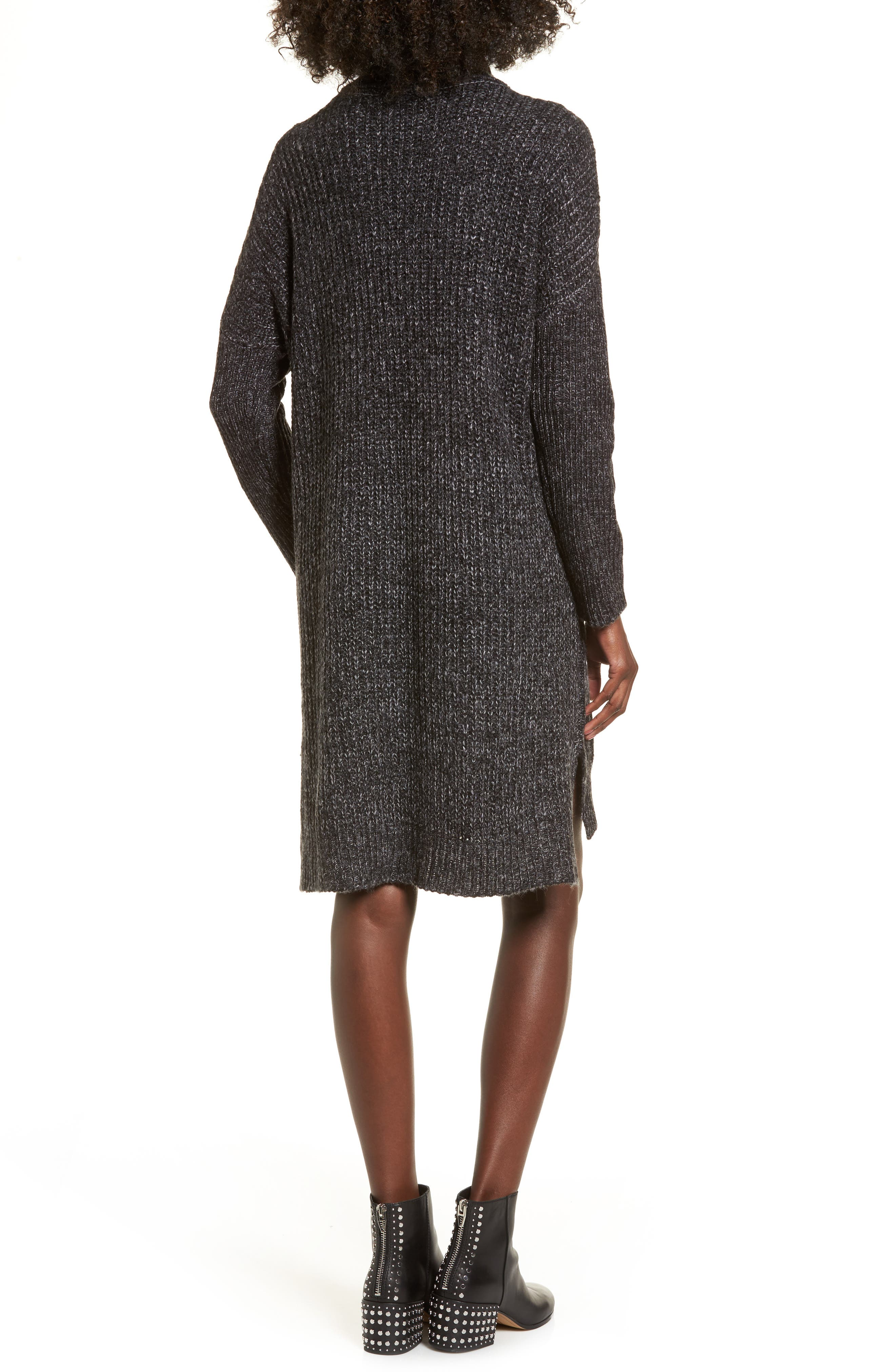 Chunky Turtleneck Sweater Dress,                             Alternate thumbnail 2, color,                             Charcoal