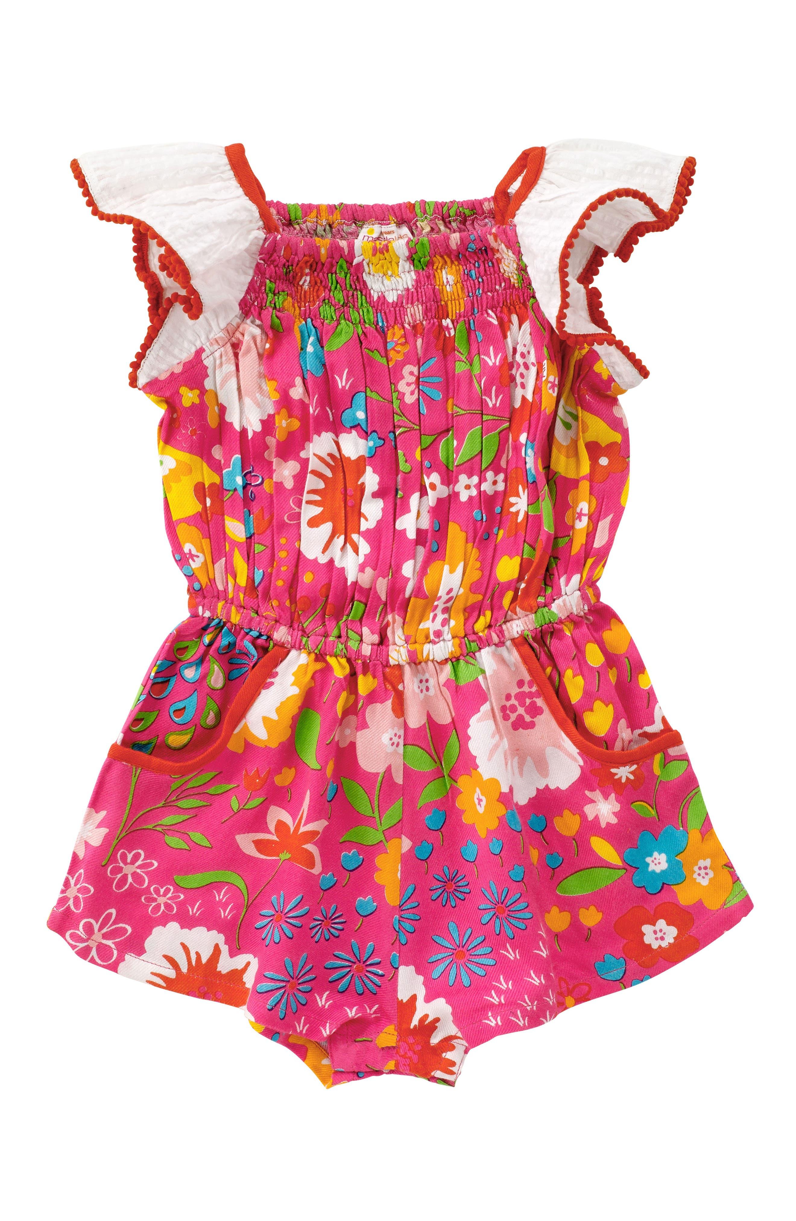 Main Image - Masala Baby Zuri English Garden Print Romper (Toddler Girls, Little Girls & Big Girls)