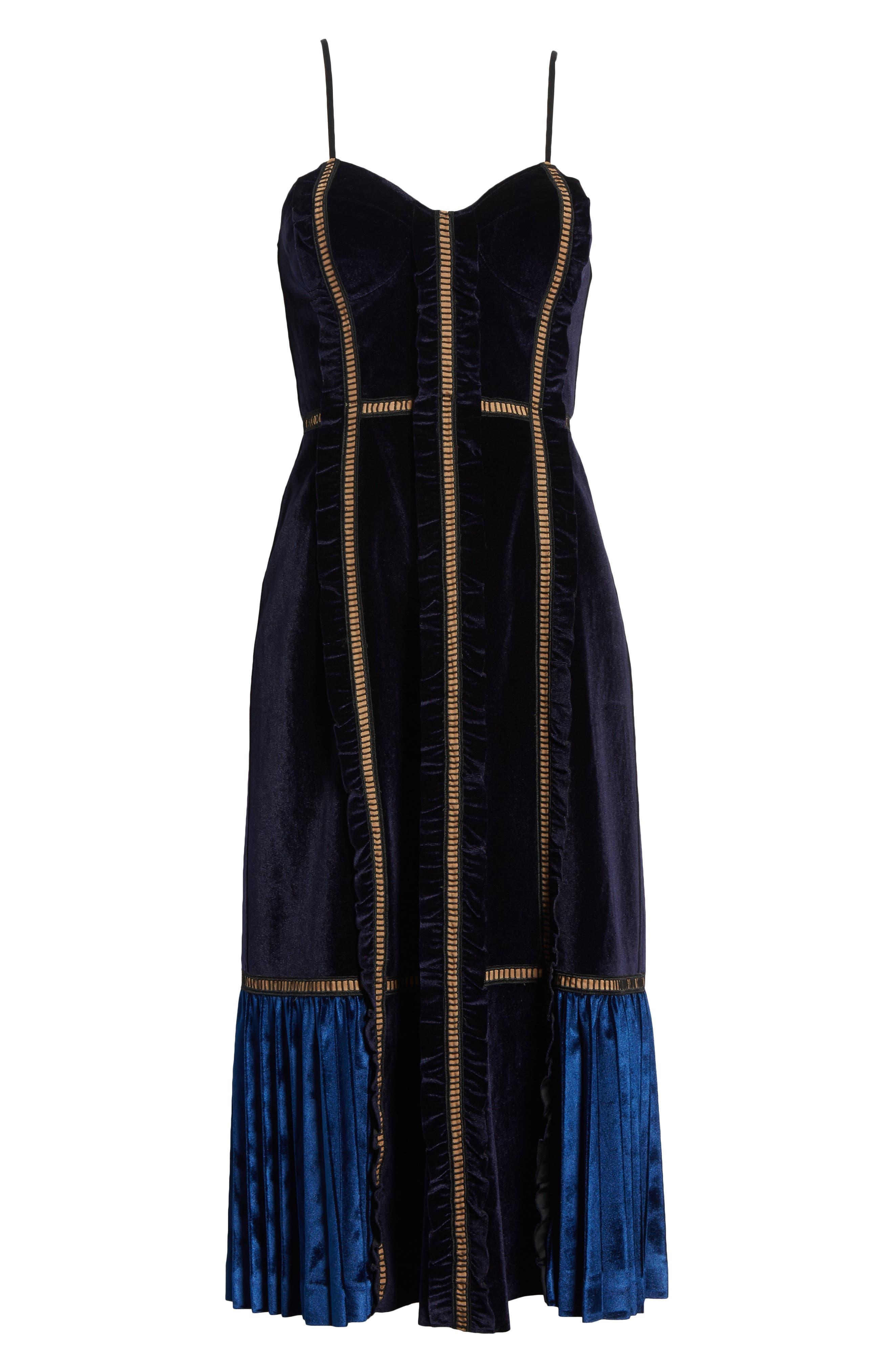 Paneled Velvet Midi Dress,                             Alternate thumbnail 6, color,                             Midnight Blue