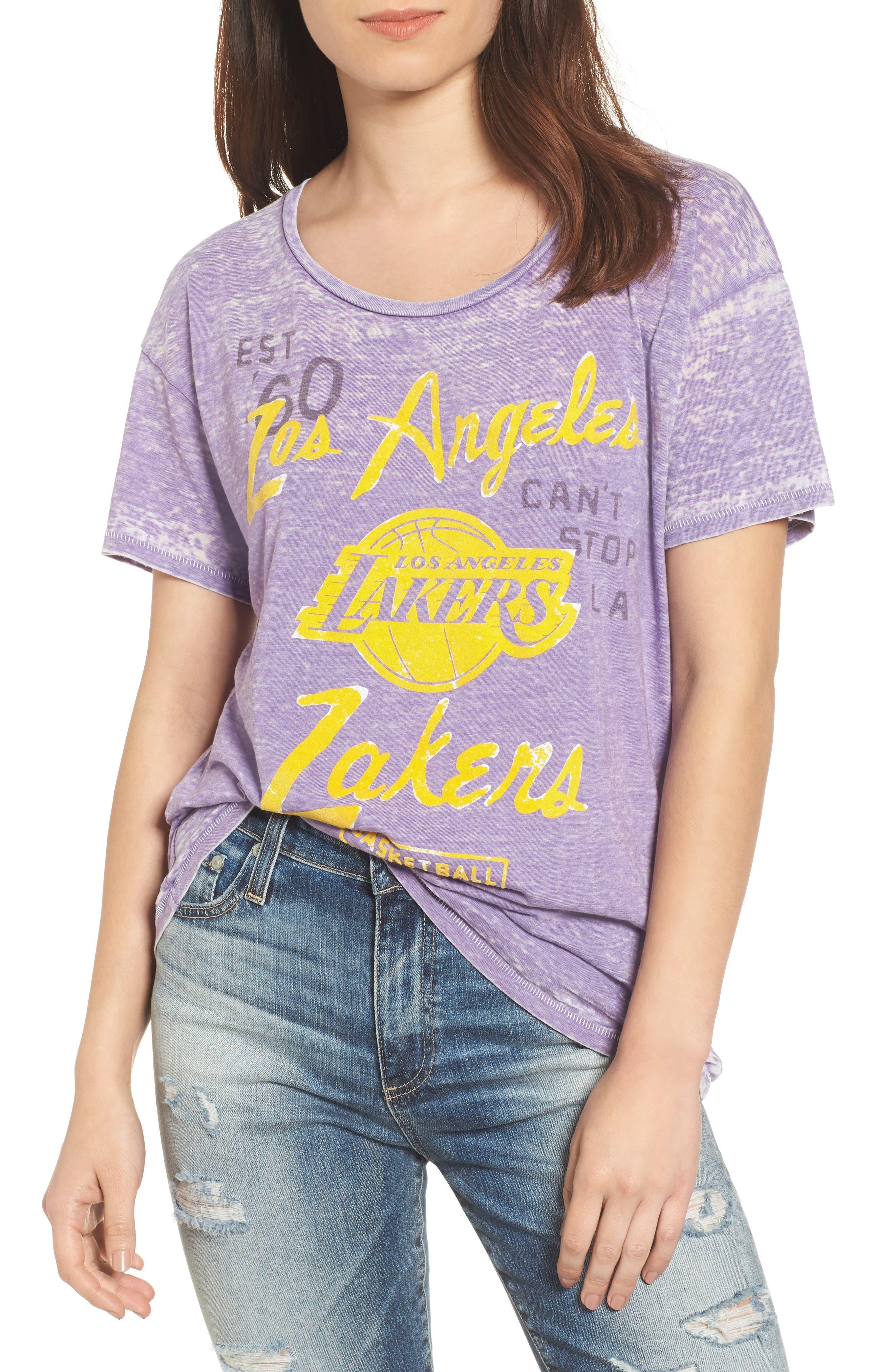 NBA Los Angeles Lakers Tee,                             Main thumbnail 1, color,                             Plum