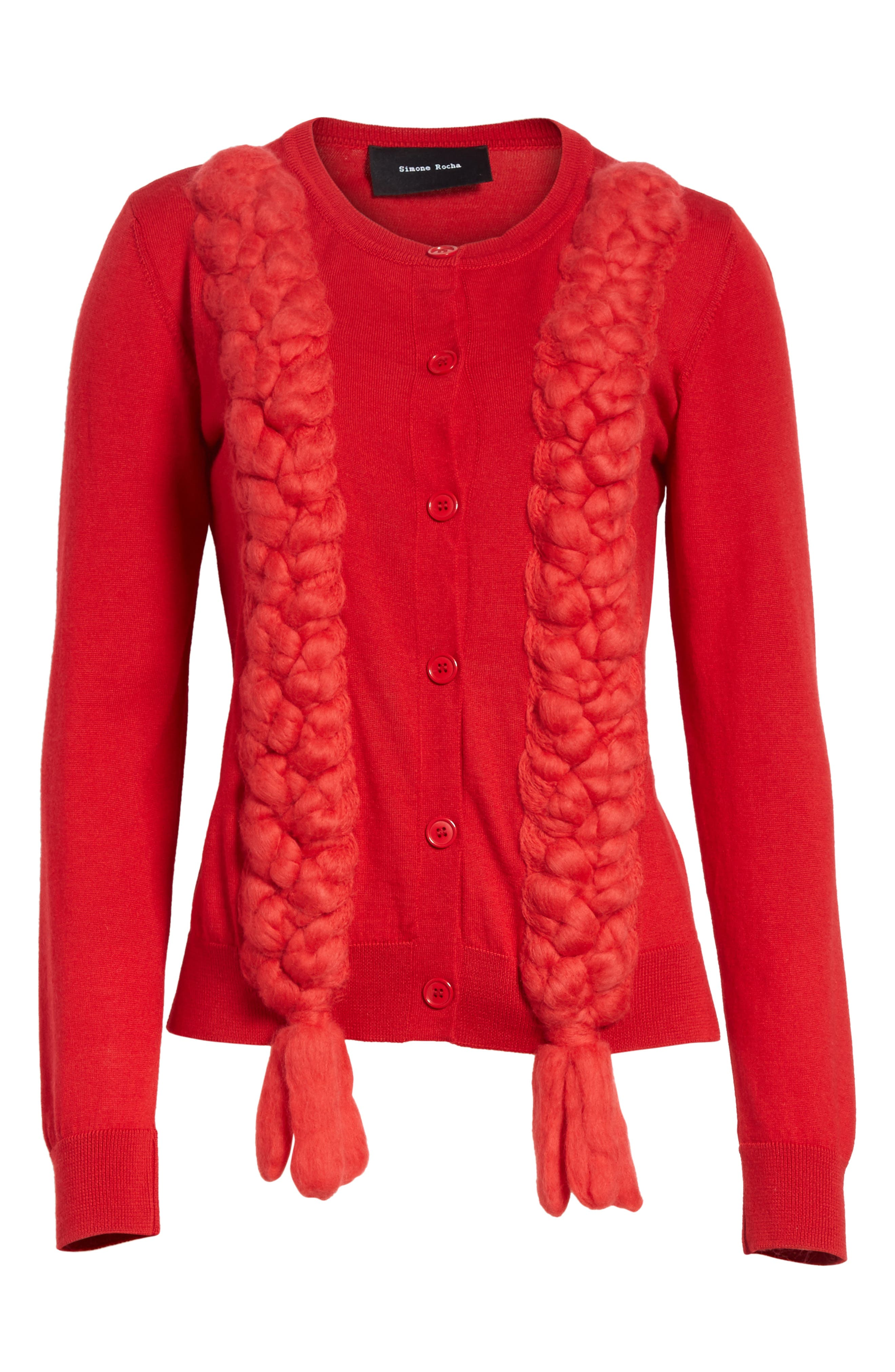 Felted Plait Merino, Silk & Cashmere Button Cardigan,                             Alternate thumbnail 6, color,                             Red