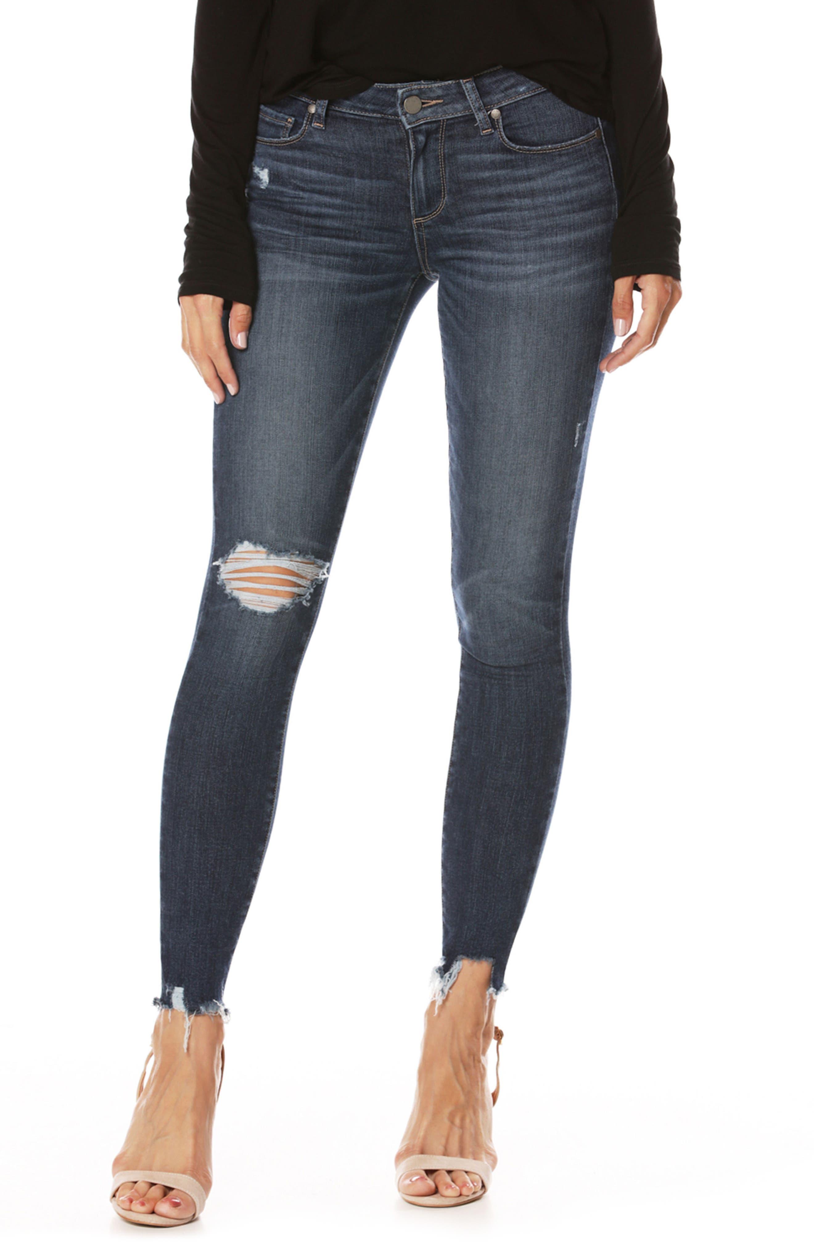Main Image - PAIGE Transcend Vintage - Verdugo Ankle Skinny Jeans (Danton Destructed)